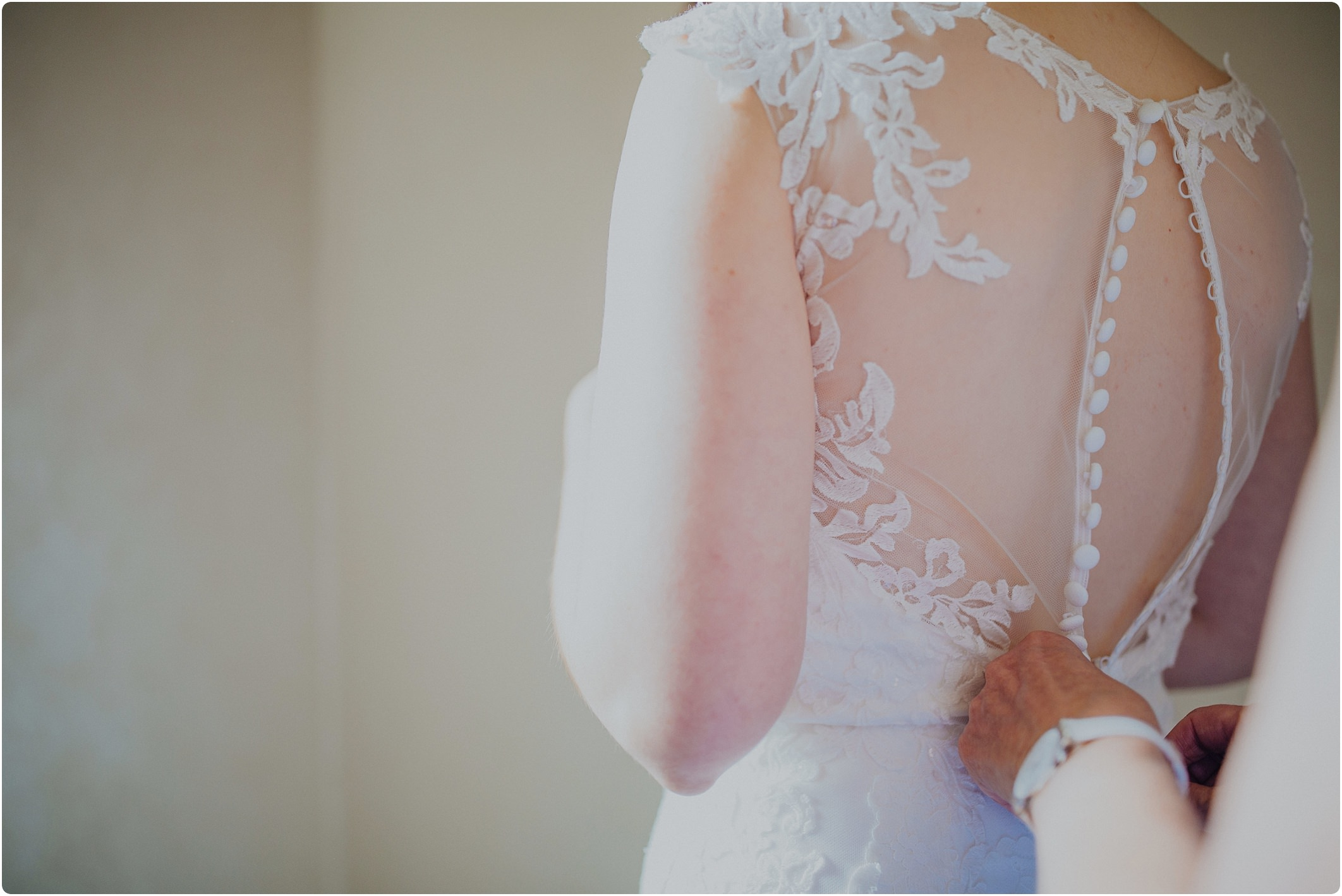 lace back of a Ronald Joyce dress