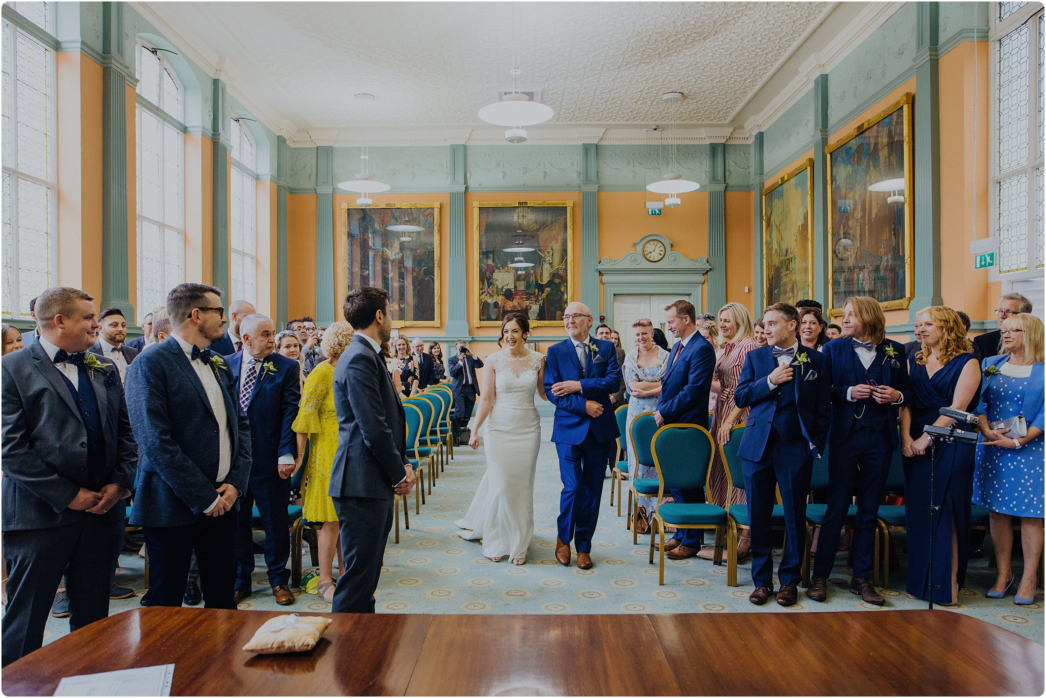 walking down the aisle at City Hall Bristol