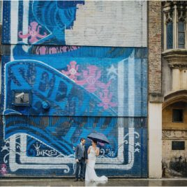 couple shots with graffiti at a Station Kitchen Wedding