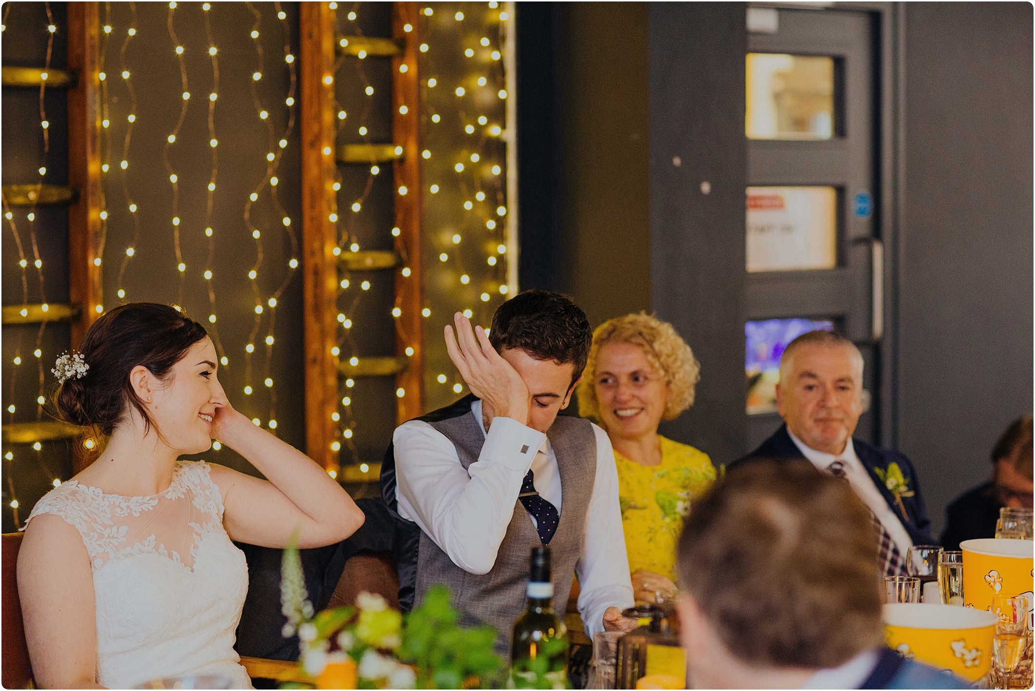 couple cryingat a Station Kitchen Wedding