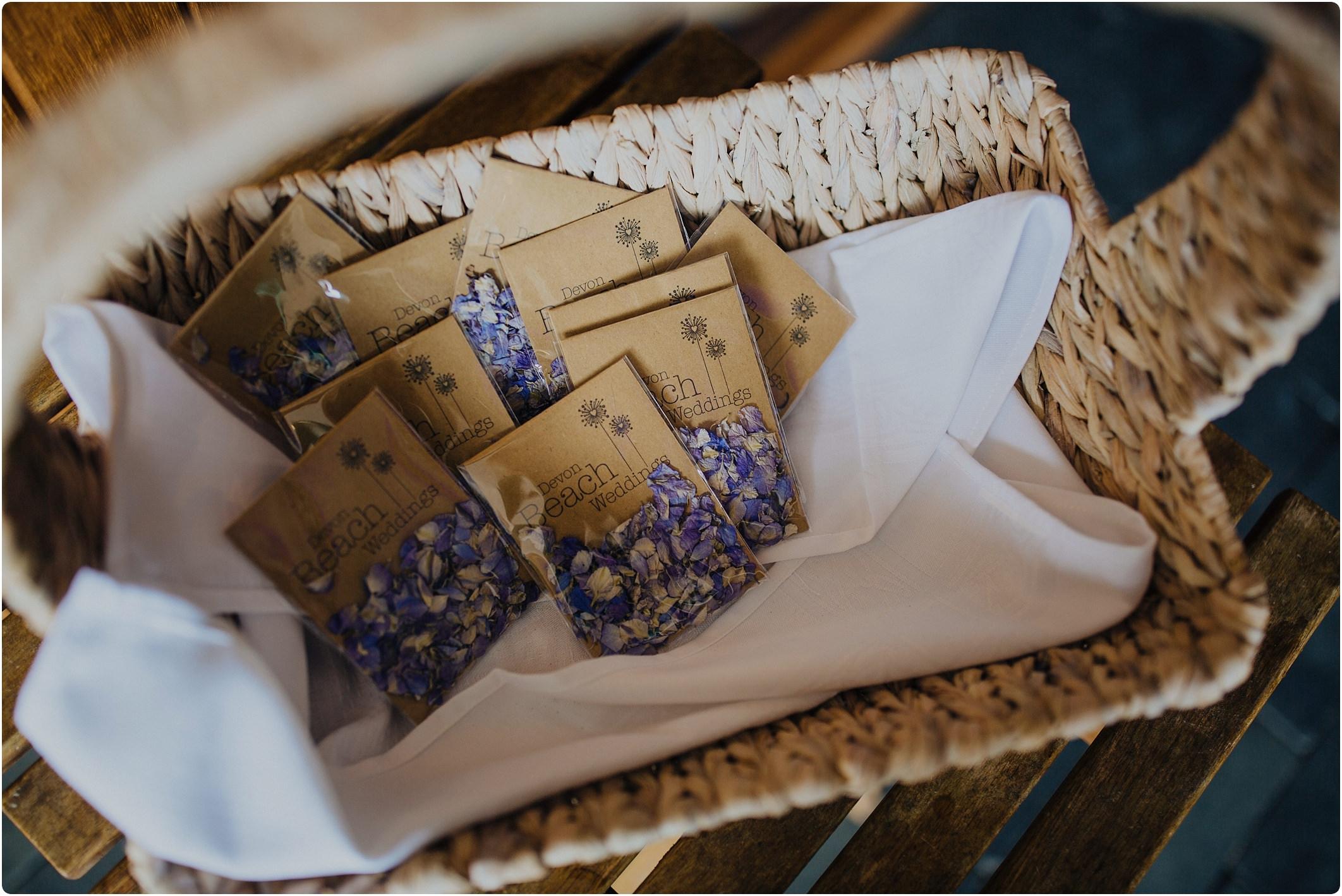 confetti in bags at a tunnels beach wedding