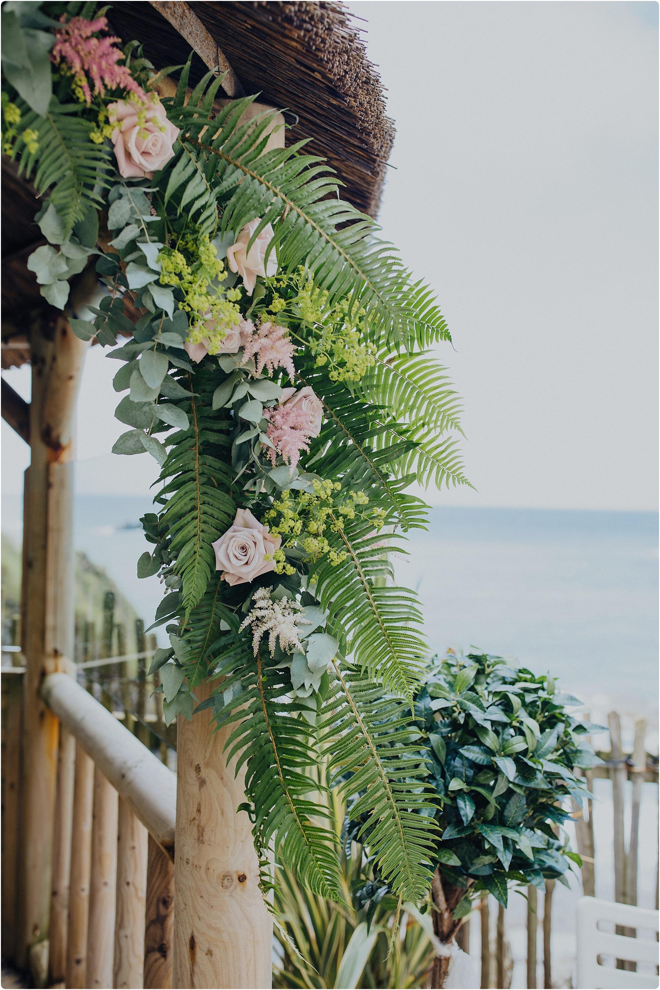 seaside wedding flowers at a tunnels beach wedding