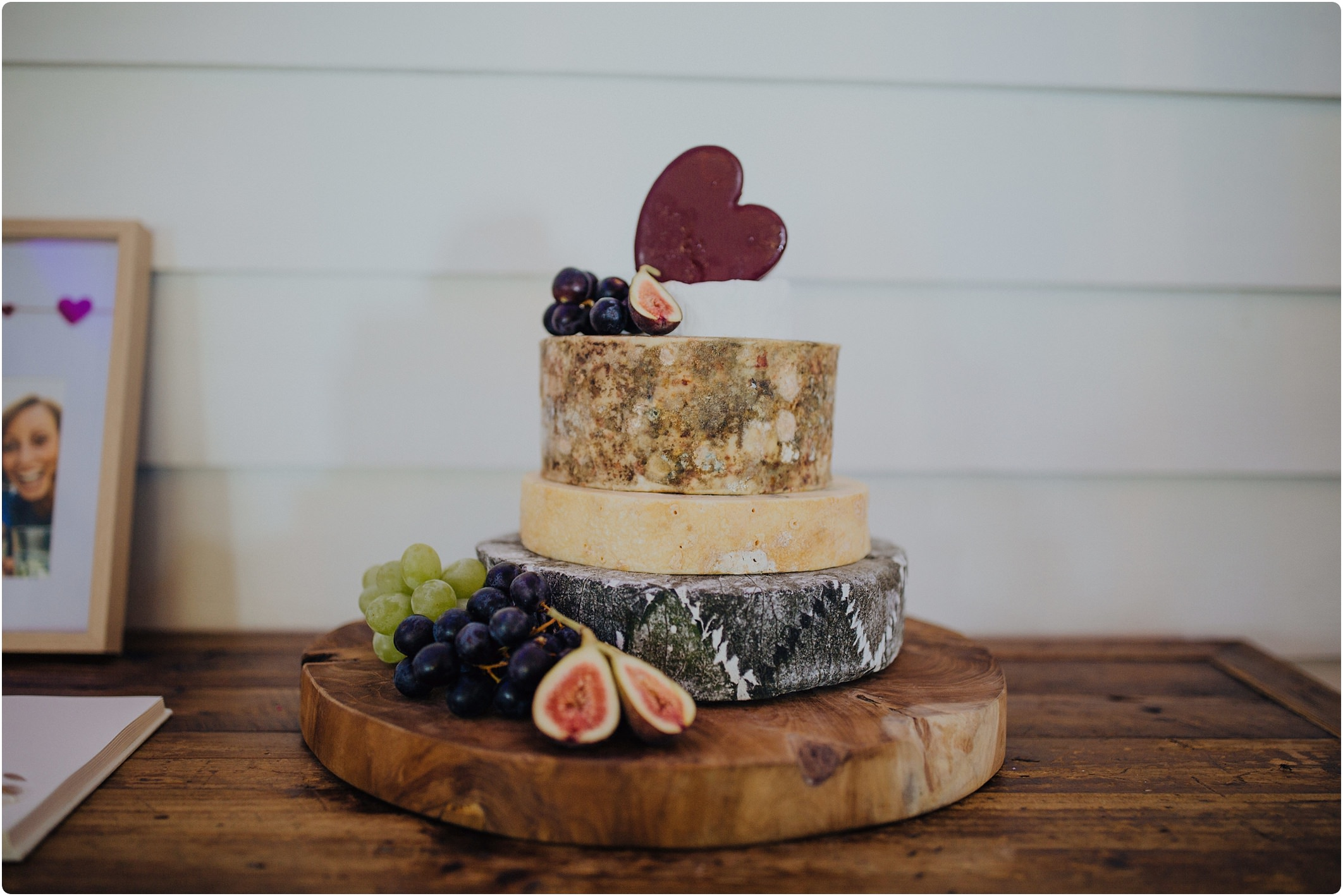 wedding cake made of cheese at a tunnels beach wedding