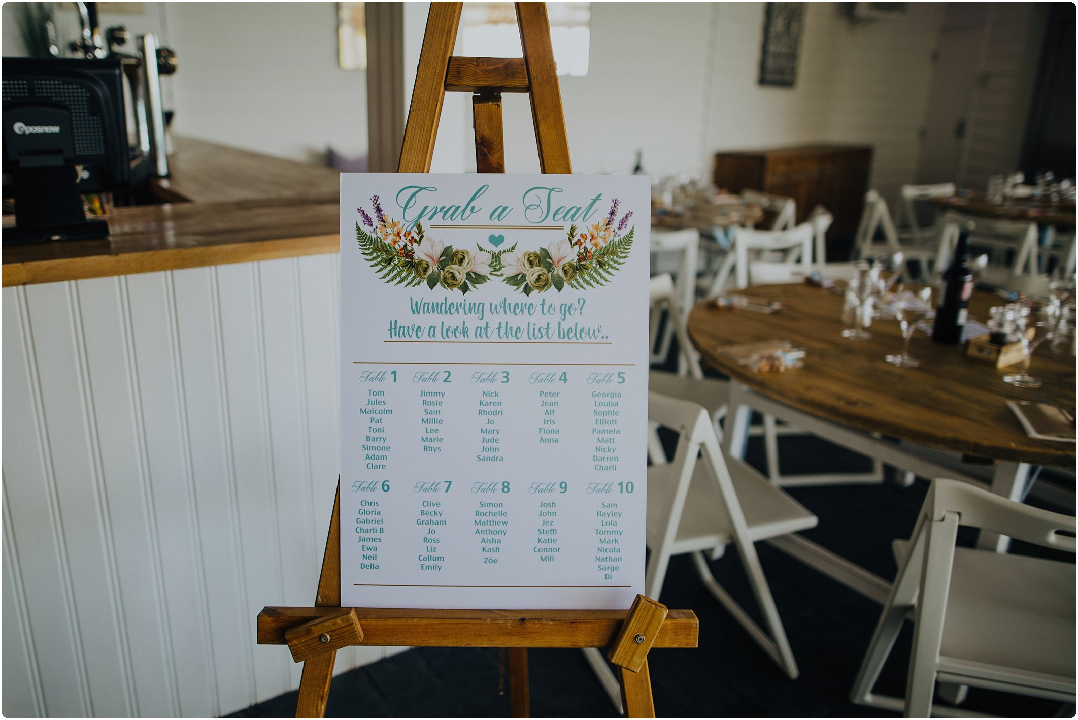 table plan on chalkboard at a tunnels beach wedding