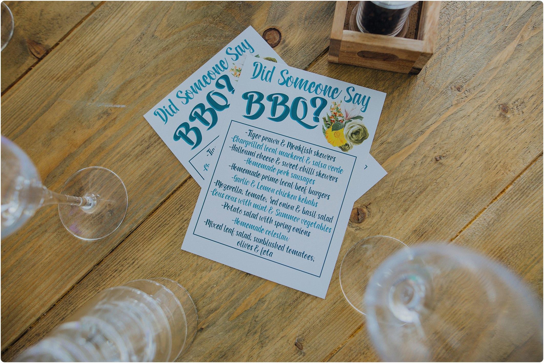 the BBQ menu at a tunnels beach wedding