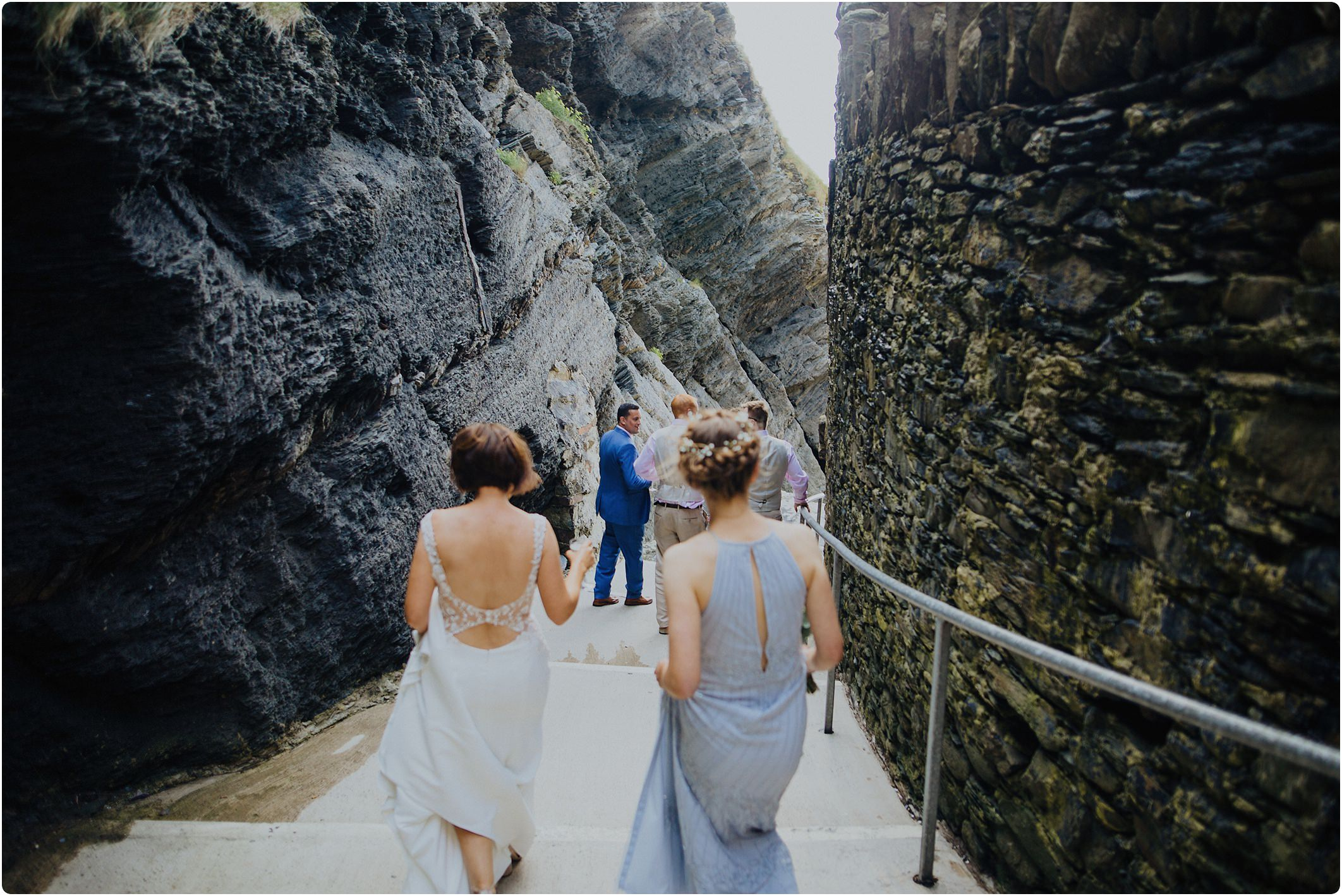 the walk down to the beach at a tunnels beach wedding