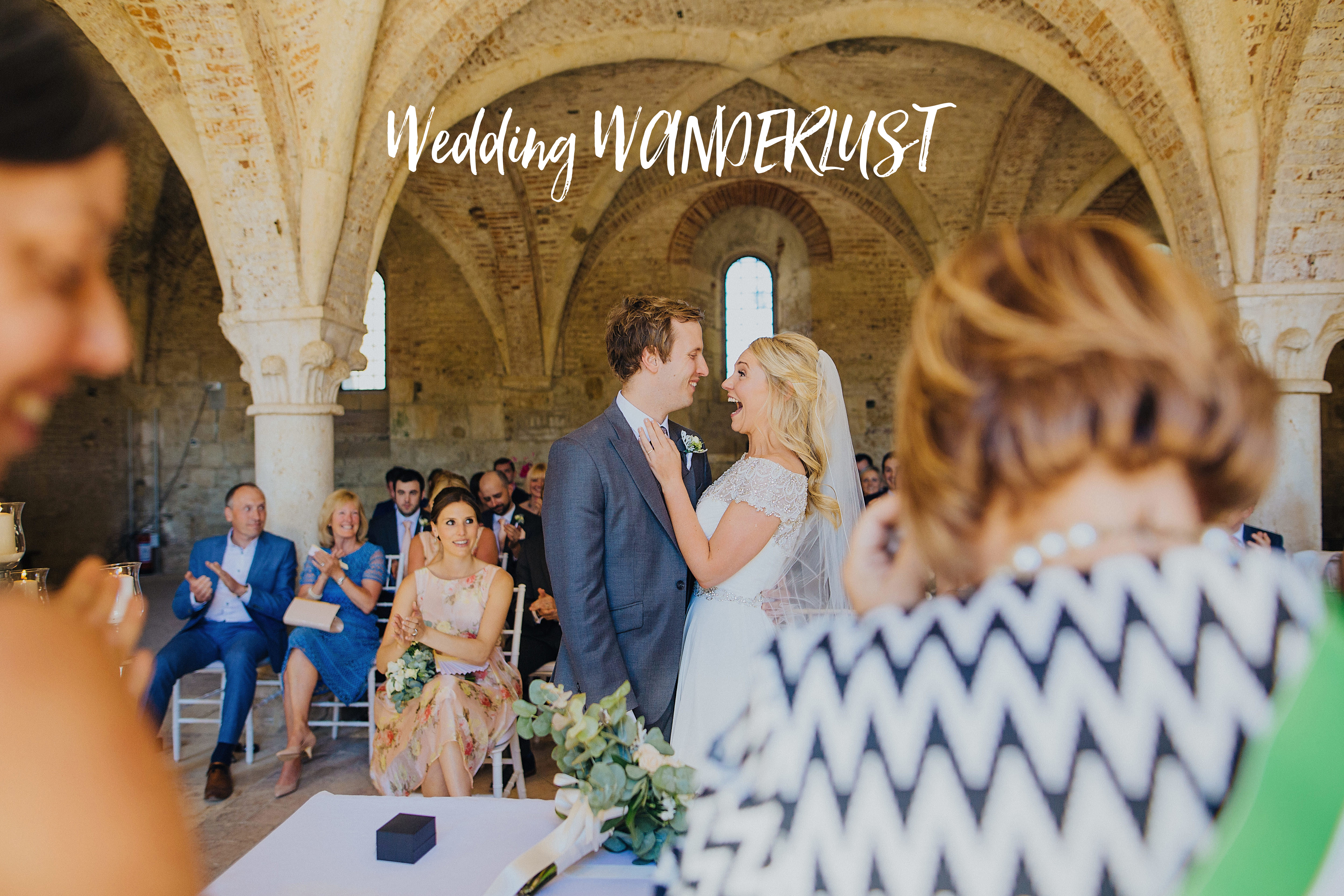 bride and groom getting married in the cloisters at San Galgano Abbey in Tuscany and Lush Imaging was their destination wedding photographer italy