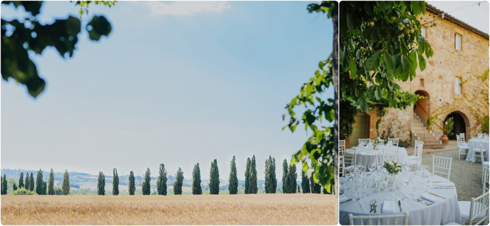 Tuscan trees and a wedding breakfast set up outside at villa podernovo