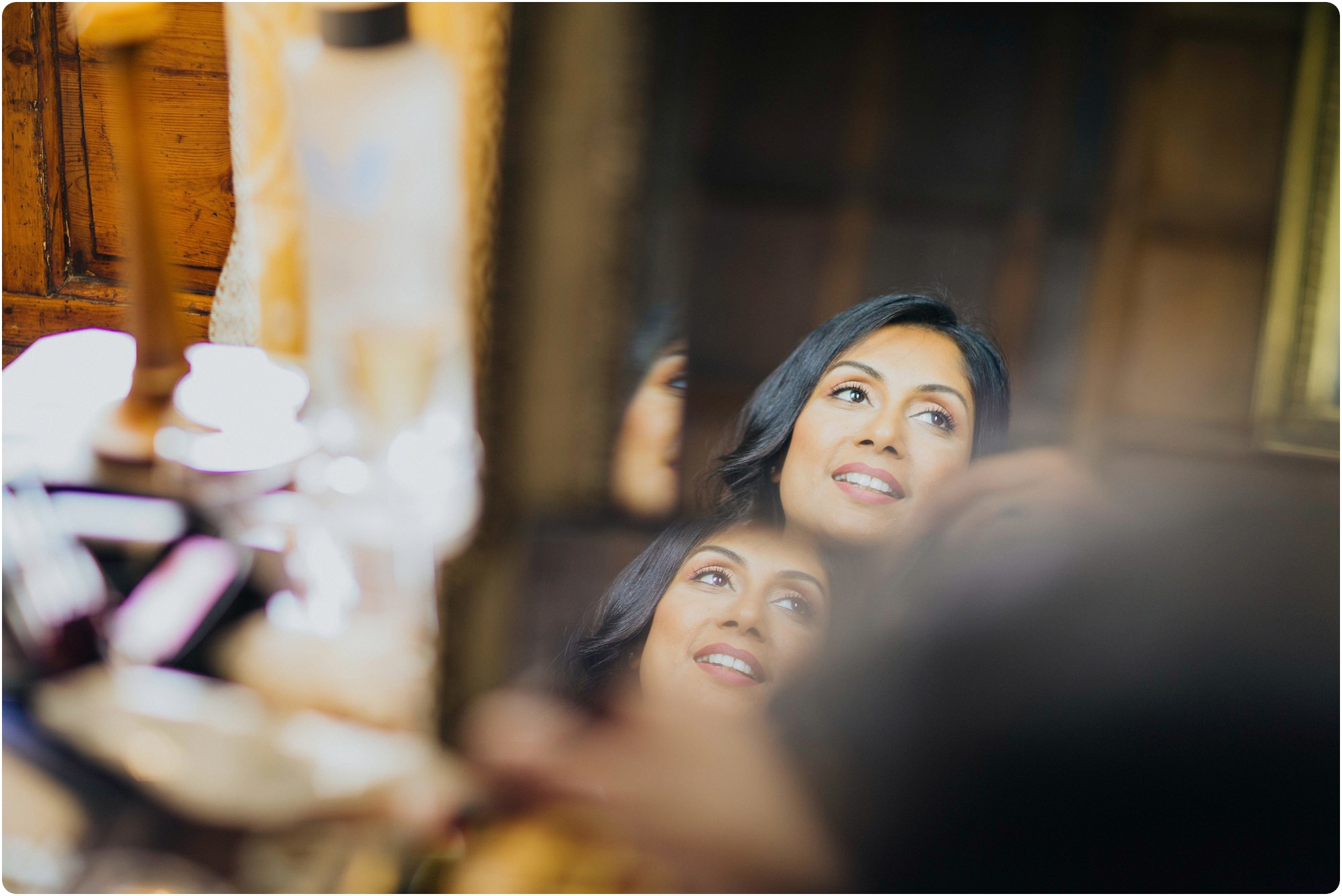 bride reflections at an Elmore Court Indian Wedding