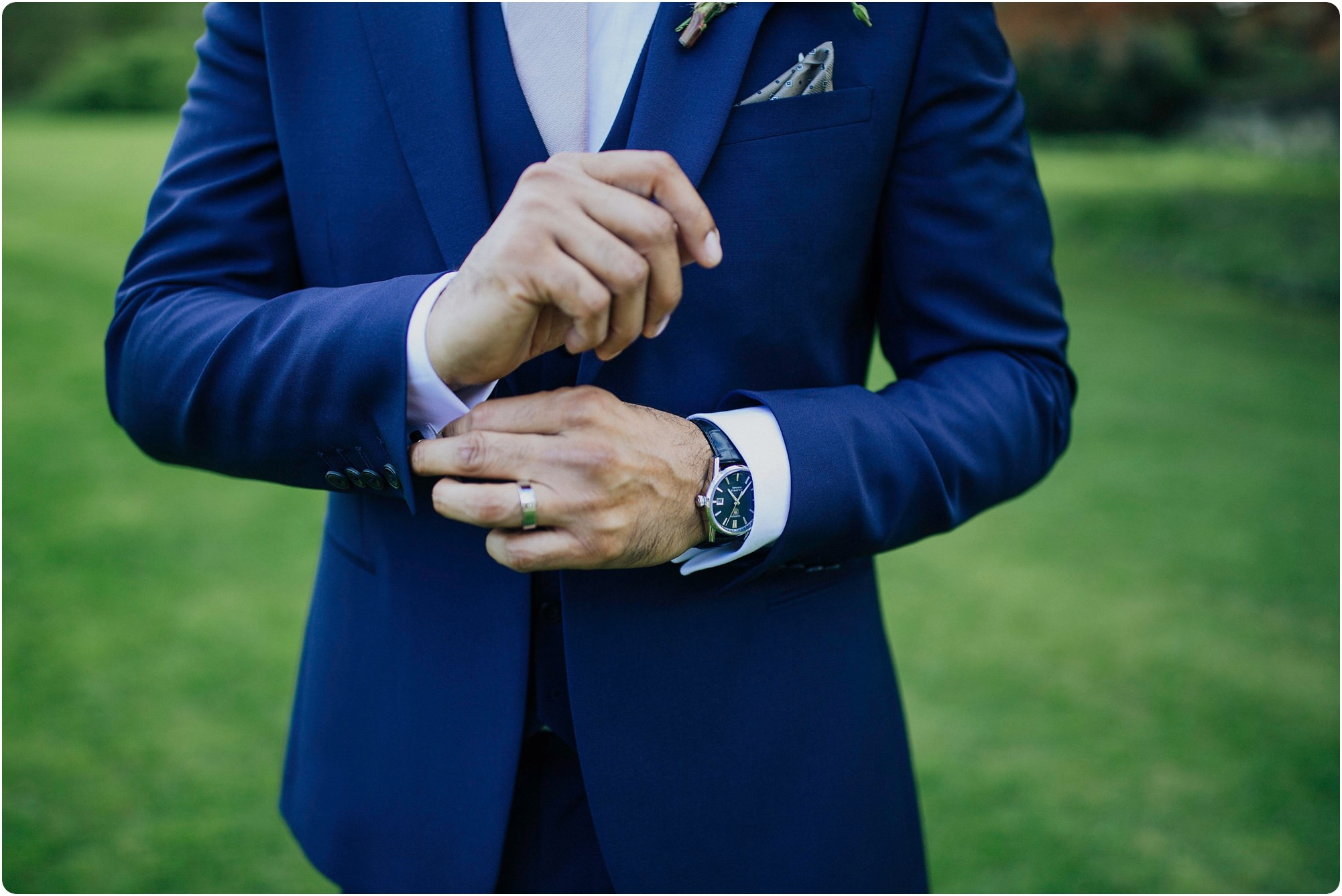 grooms cufflinks and watch at an Elmore Court Indian Wedding