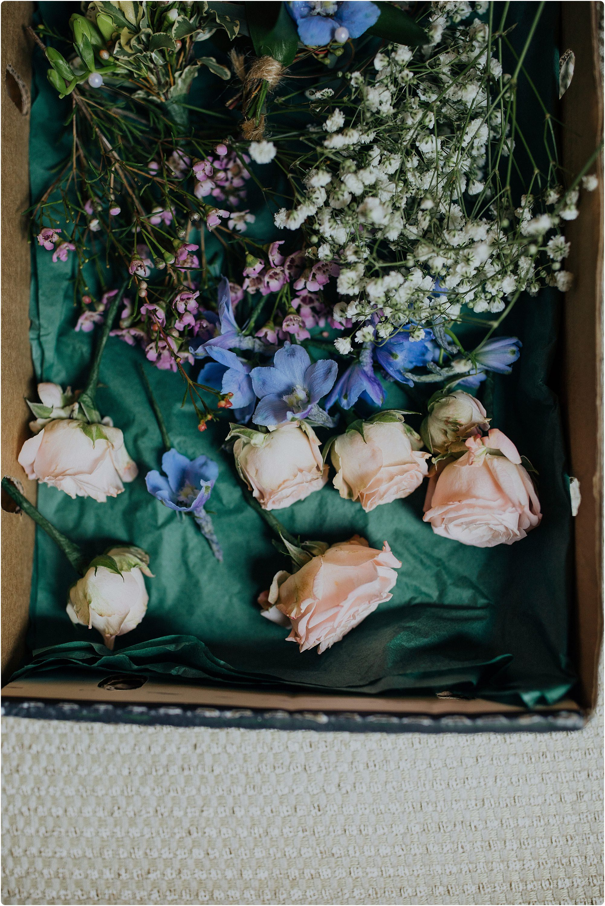 hair flowers in a box by Go Wild Flowers at a Barnsley House Wedding