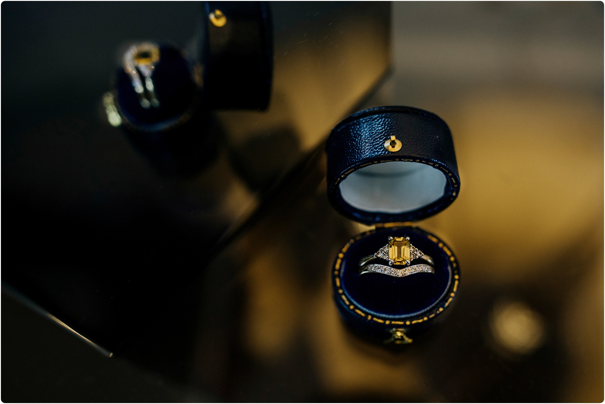 yellow gold baguette engagement ring at Barnsley House