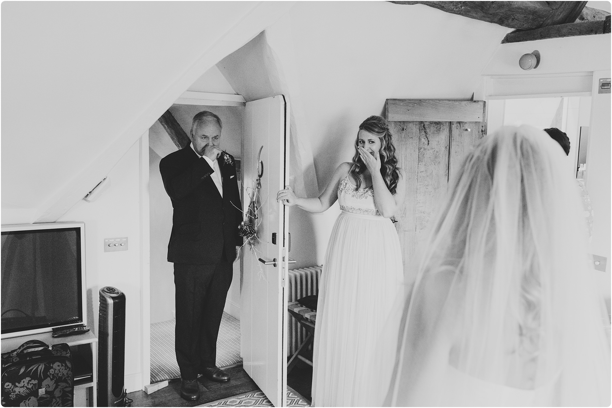 father of bride seeing daughter for first time at a Barnsley house wedding