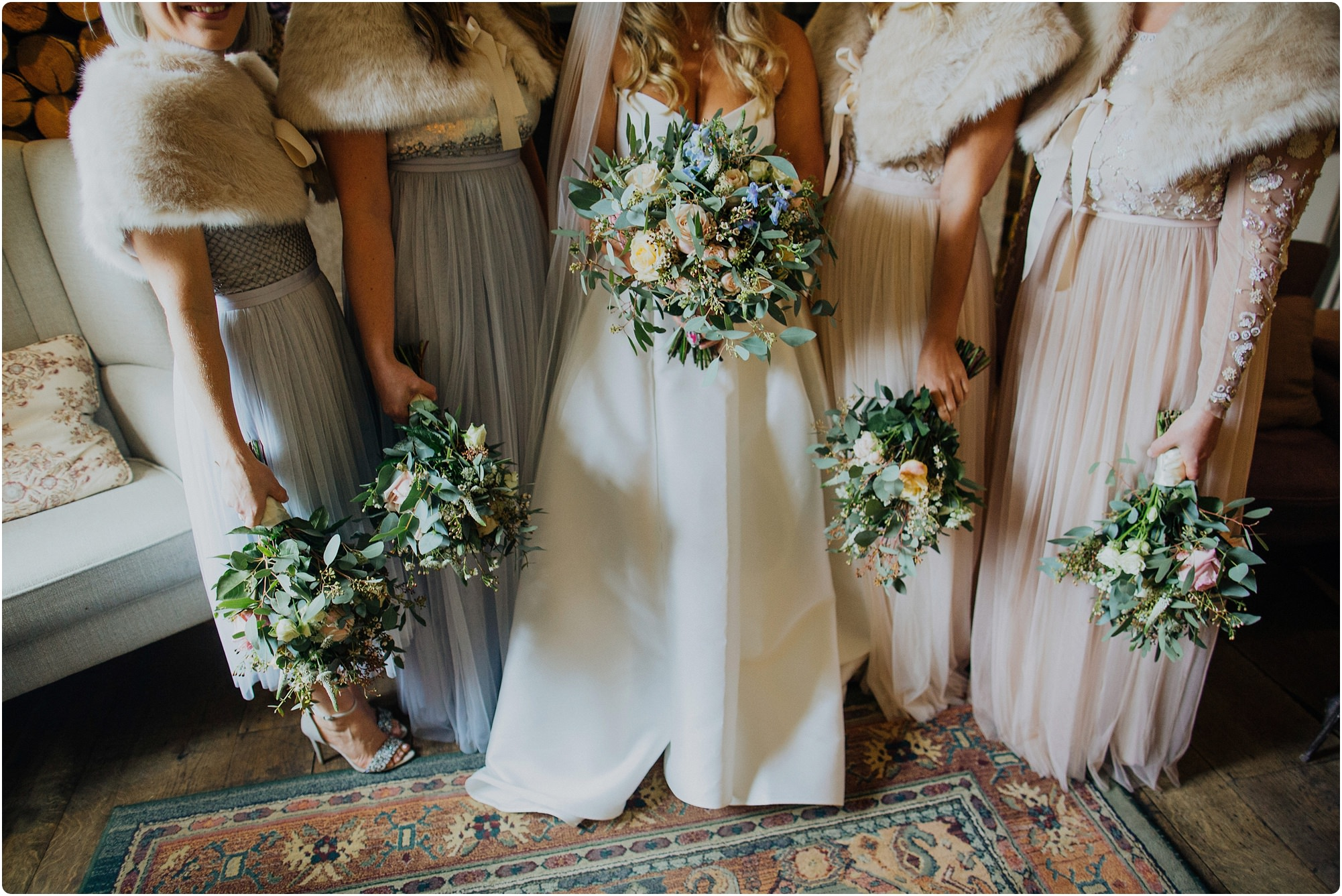 needle and thread bridesmaid dresses and flowers for a Barnsley house wedding