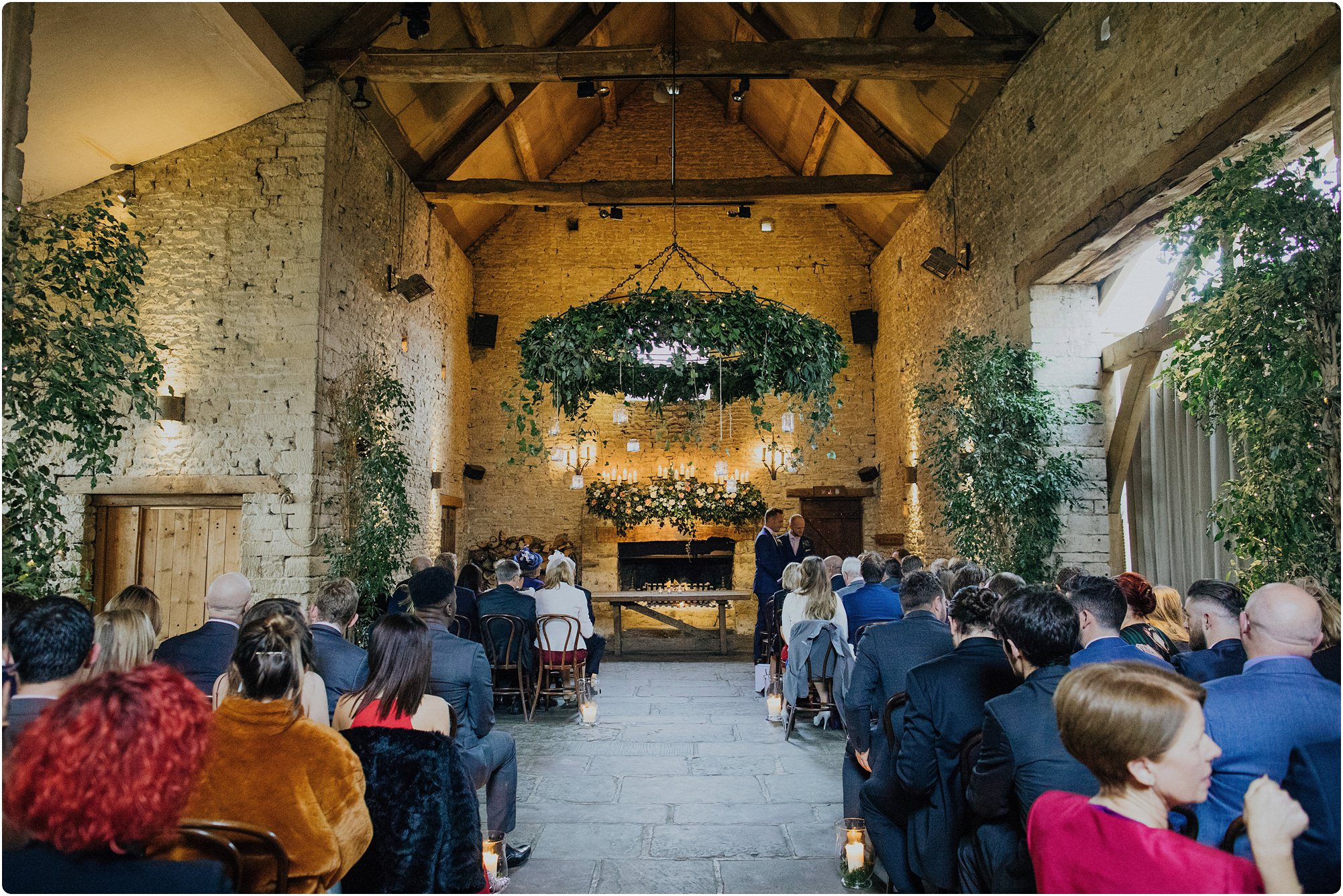 the inside hall before a ceremony at a Cripps Barn Winter Wedding