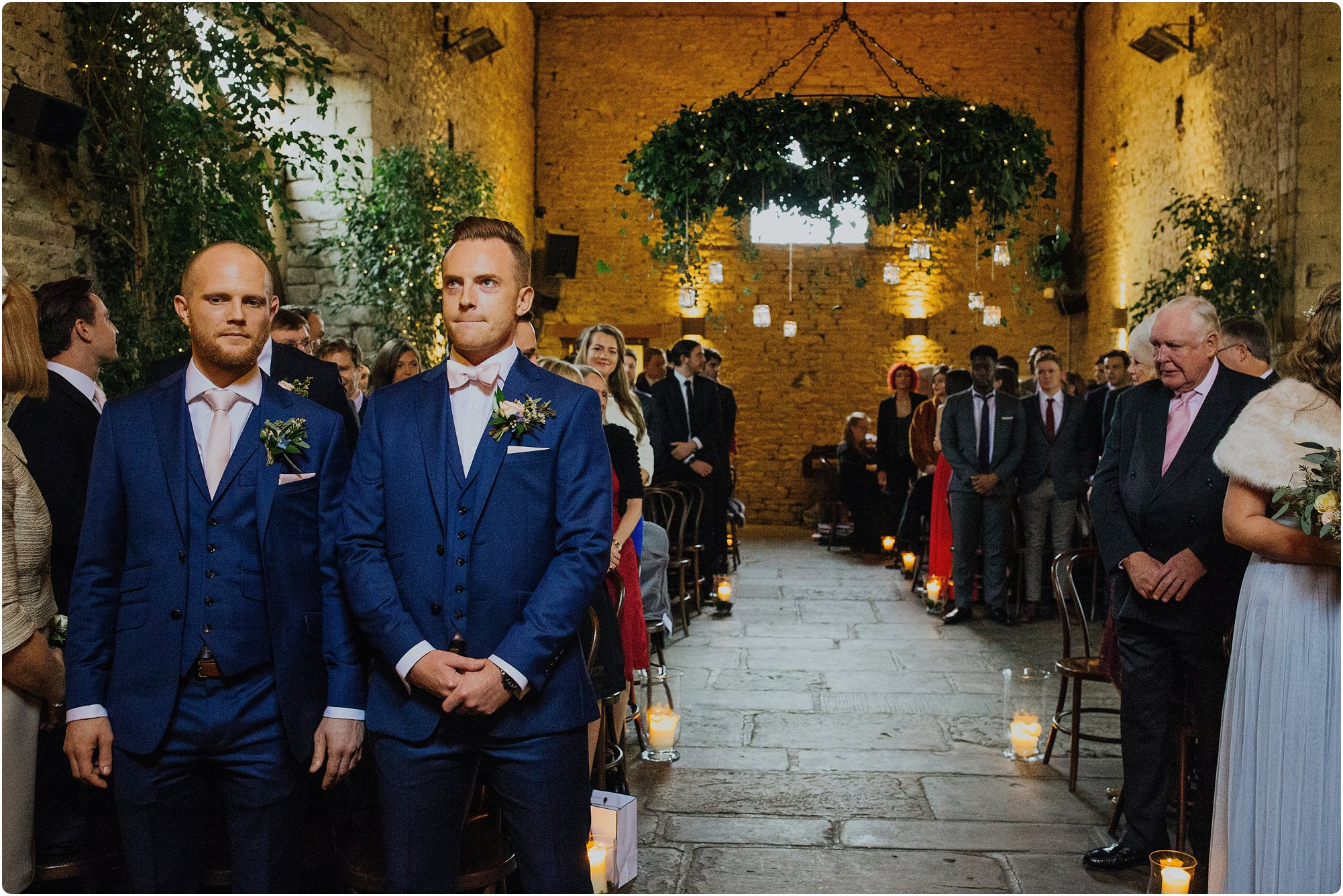 groom waiting nervously at a a Cripps Barn Winter Wedding