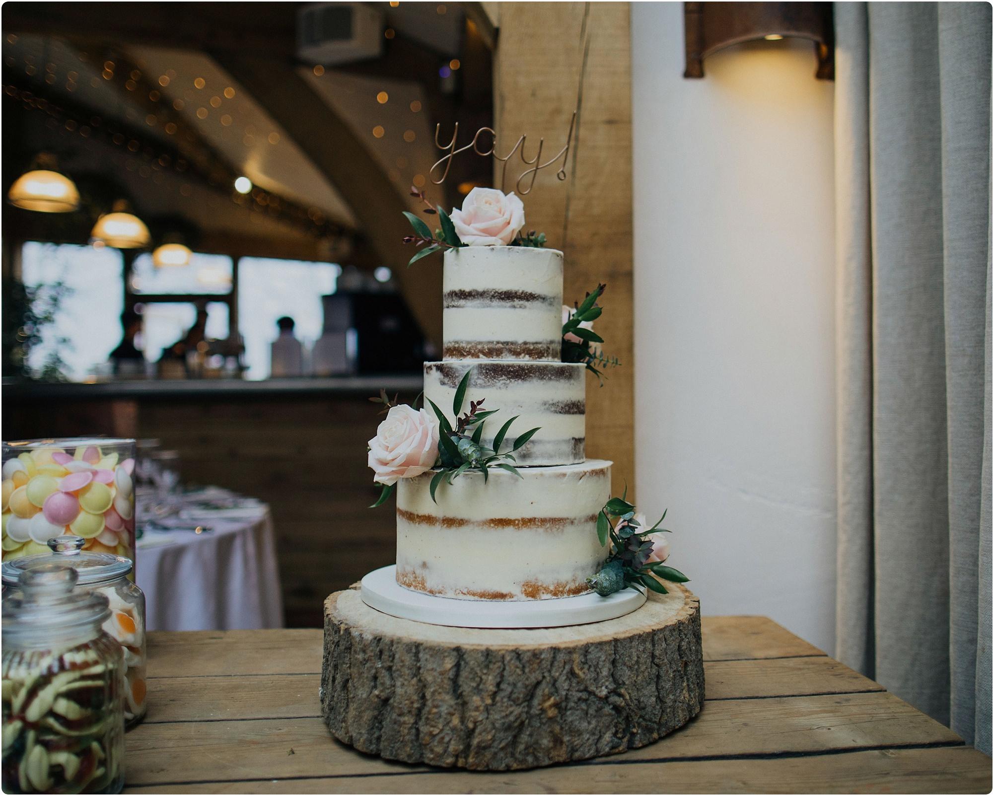 cake by Hannah Hickman at a a Cripps Barn Winter Wedding