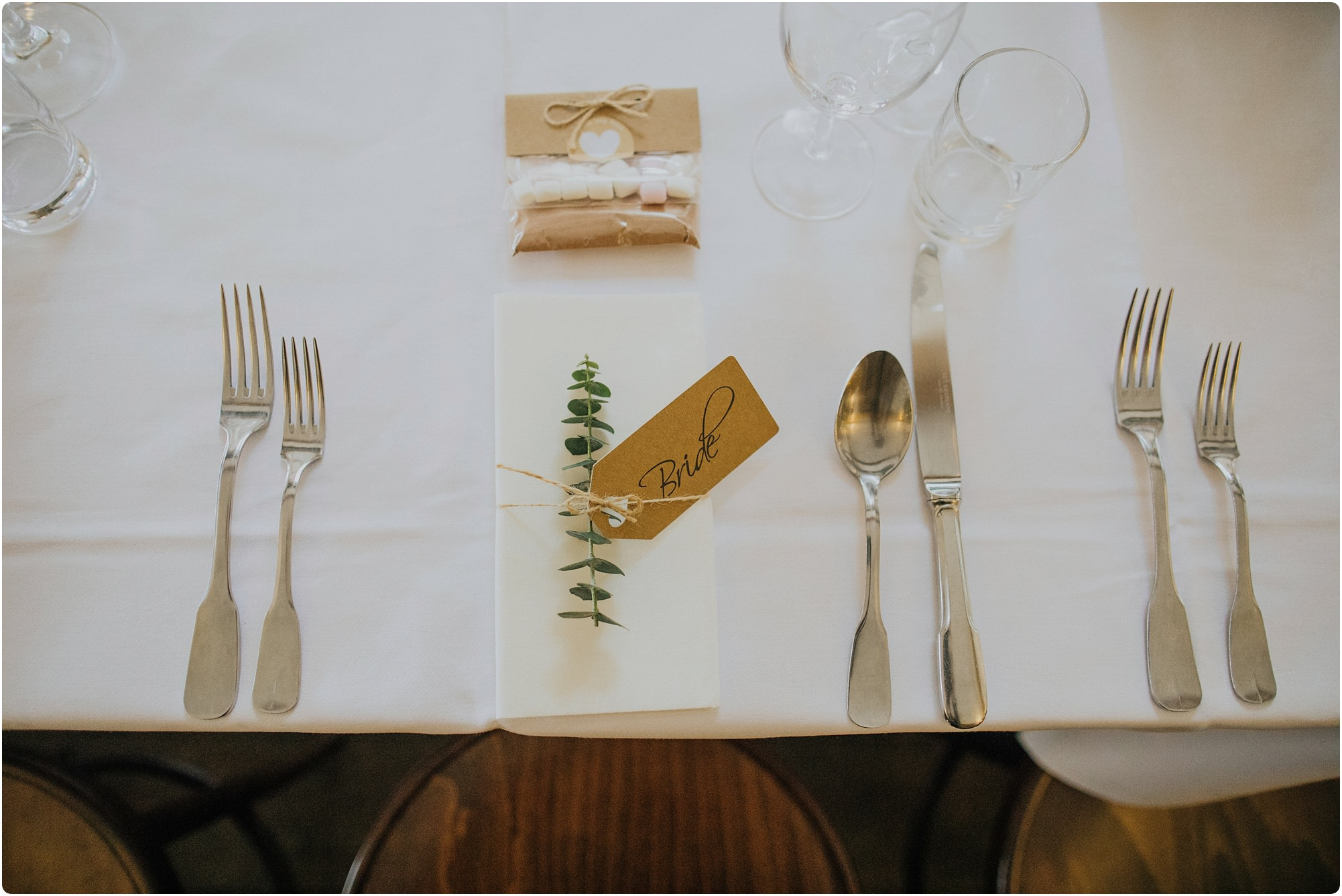 rosemary name place holder for bride at a Cripps Barn Winter Wedding