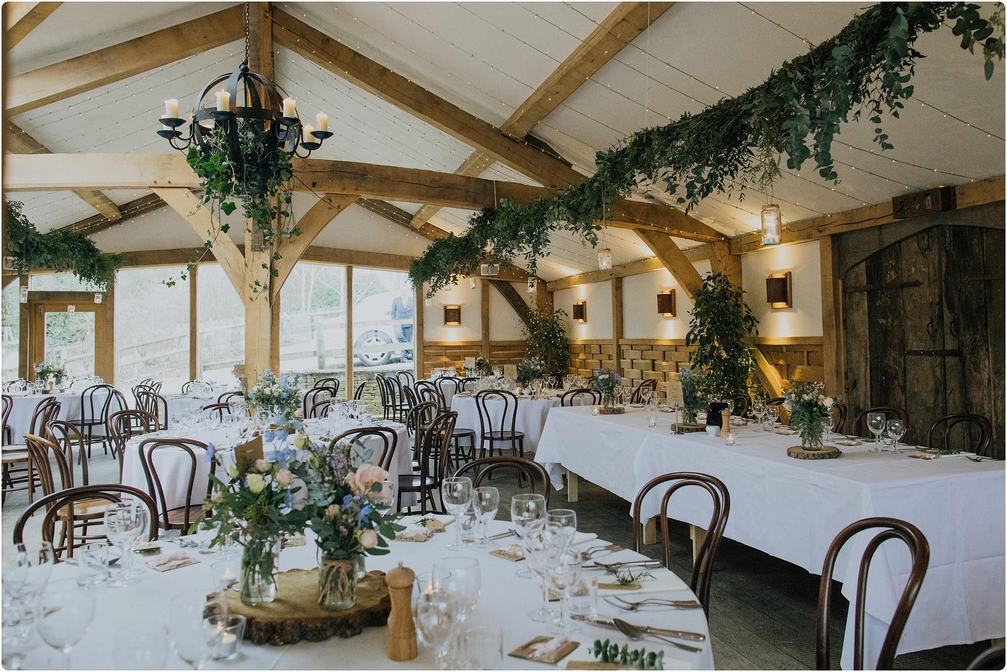 room set up for a Cripps Barn Winter Wedding