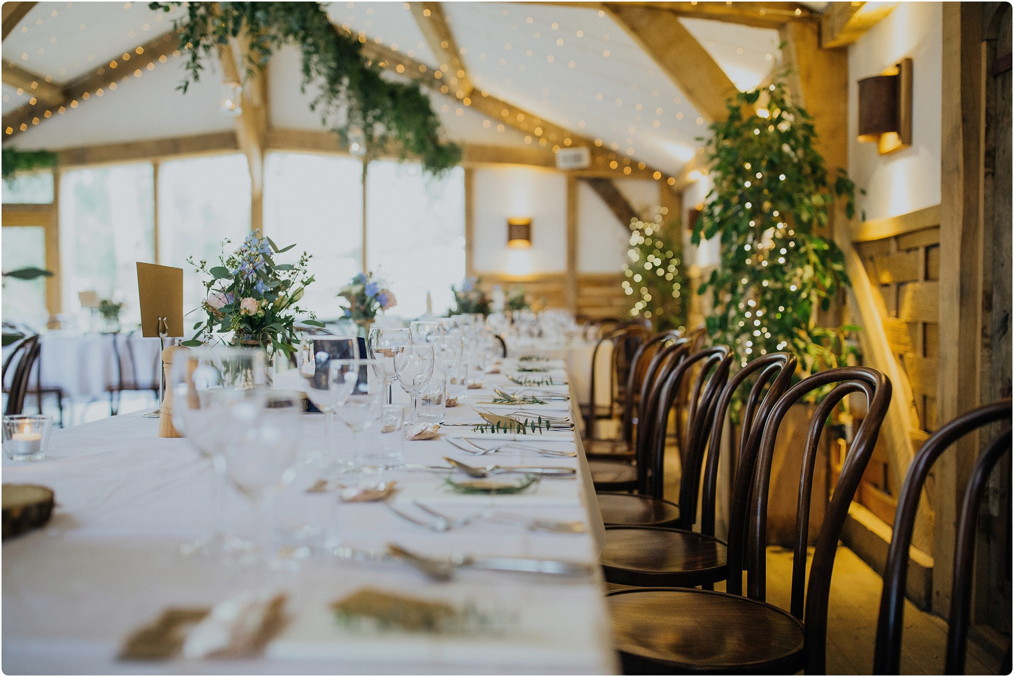 table set up for a rustic theme at a Cripps Barn Winter Wedding