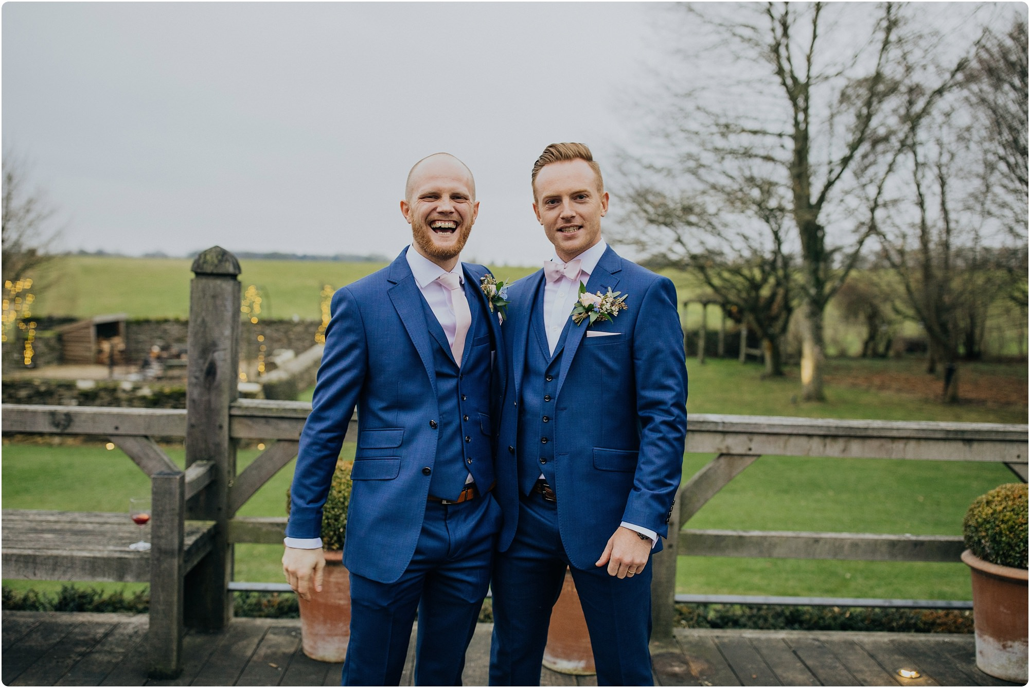best man and the groom together at a Cripps Barn Winter Wedding