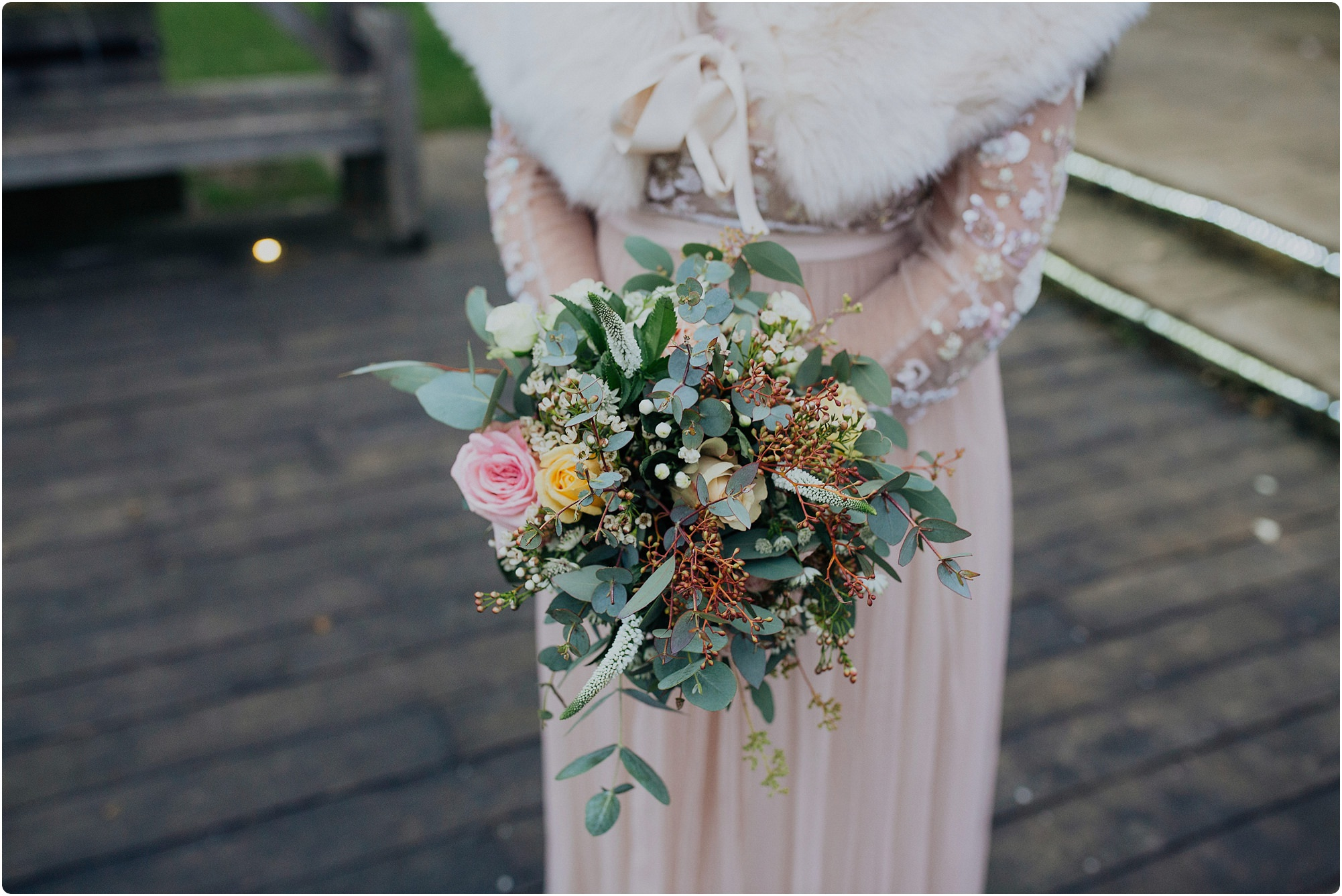 winter bouquet by go wild flowers at a Cripps Barn Winter Wedding