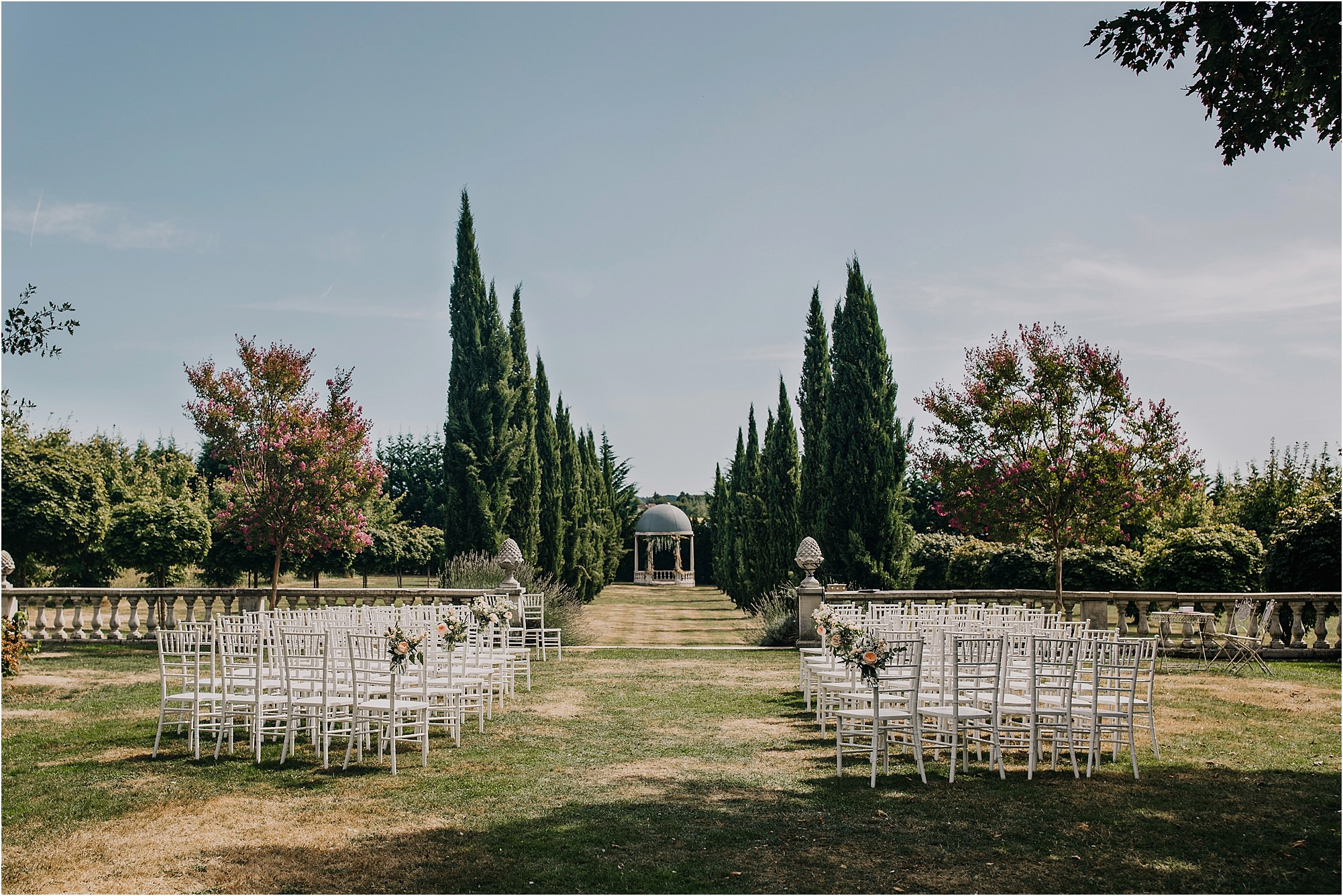 outdoor ceremony set up at chateau la durantie