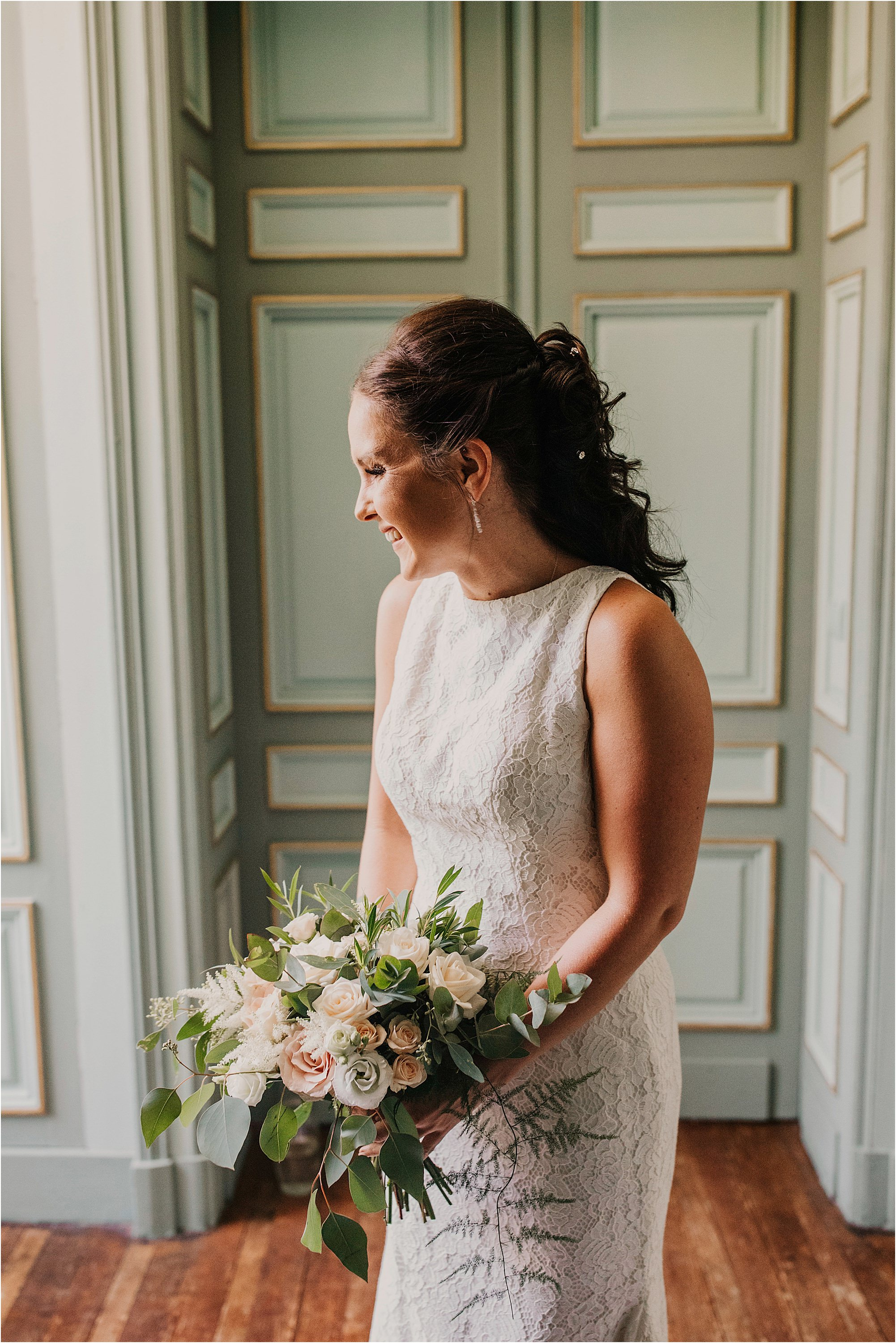 bride laughing during portrait at a chateau la durantie wefdding