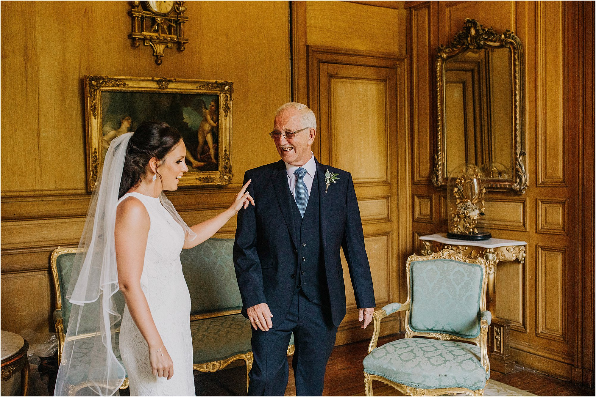 bride telling father of bride off at a chateau la durantie wedding