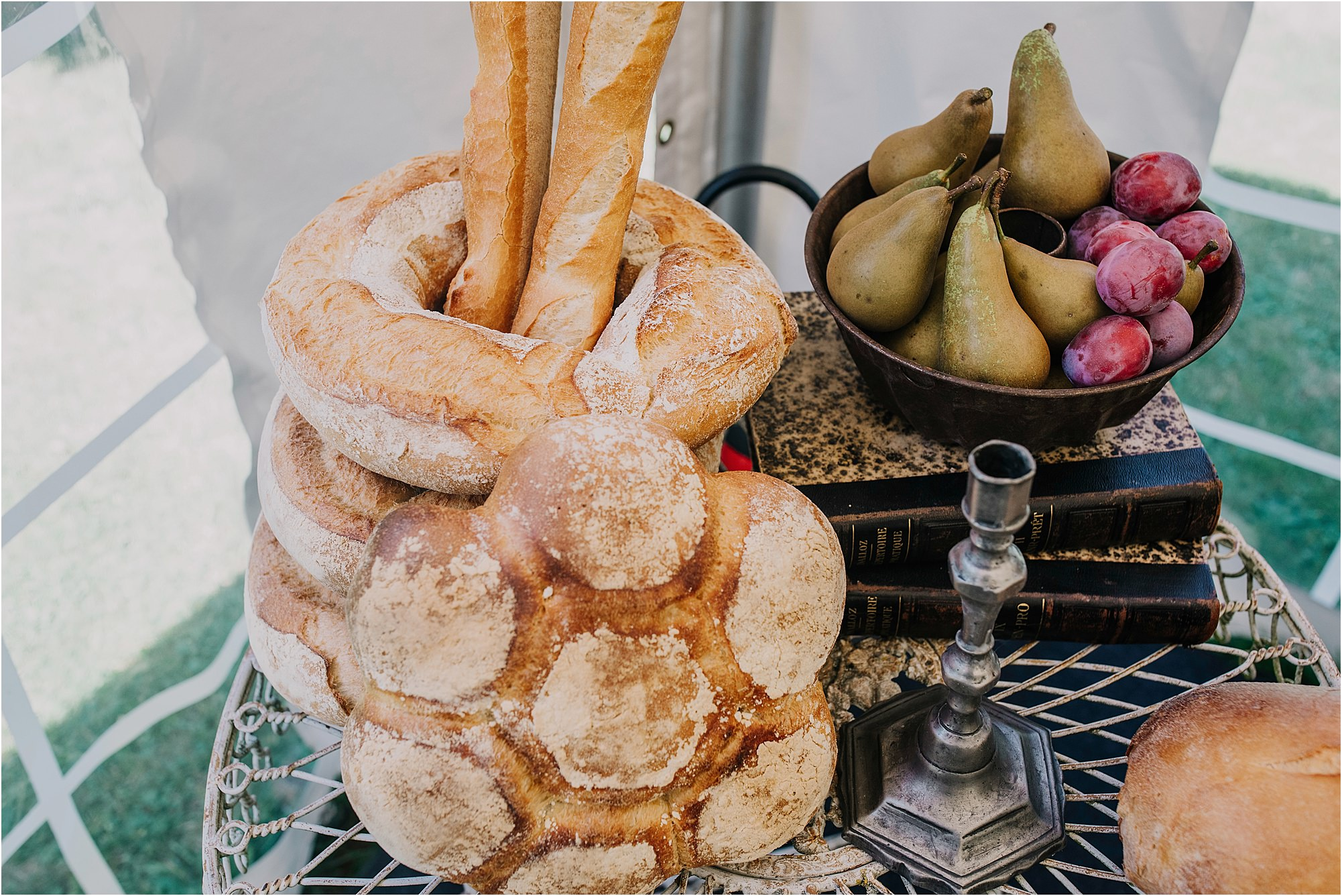 bread display at a chateau la durantie wedding