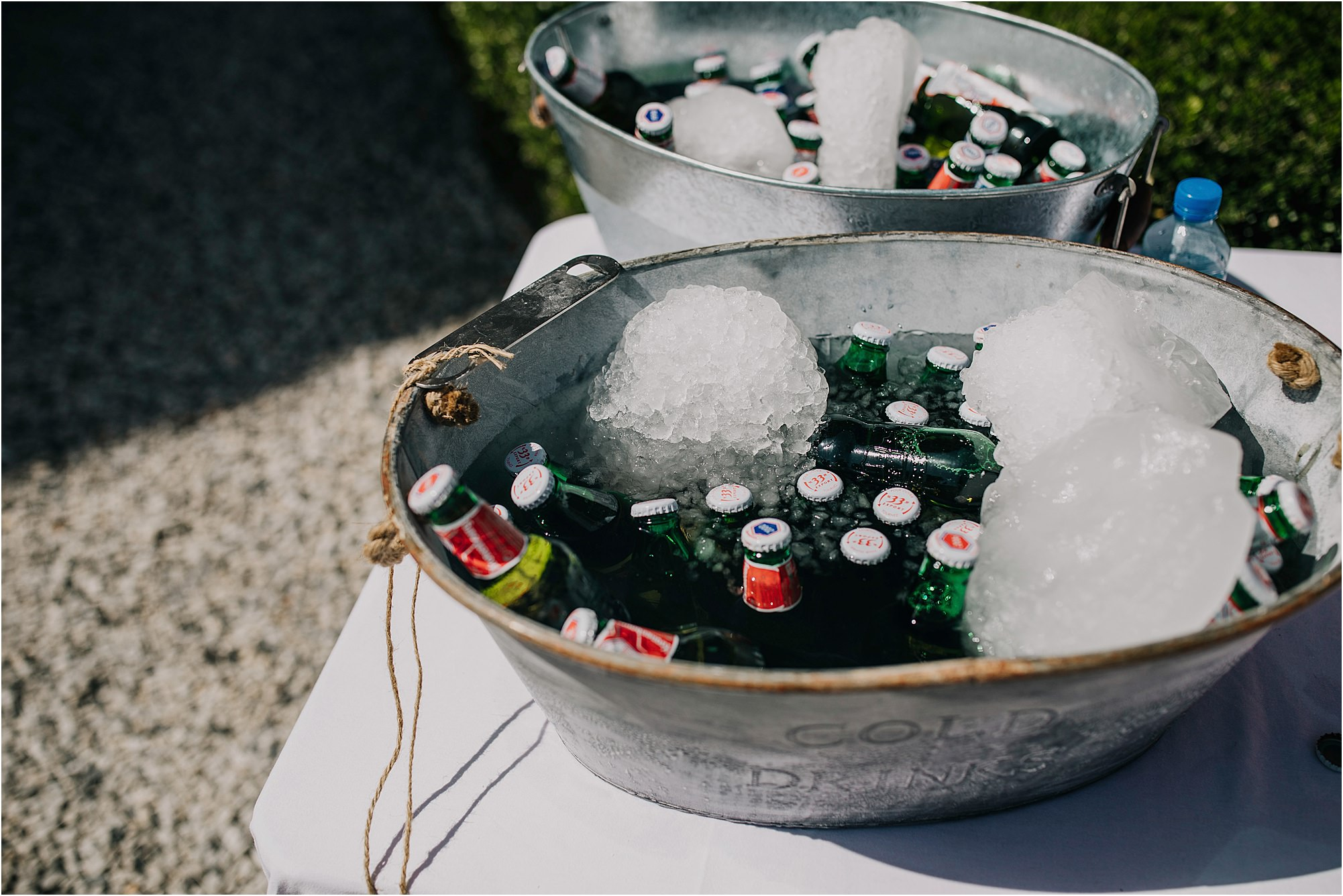 ice bucket with beers in at a chateau la durantie wedding