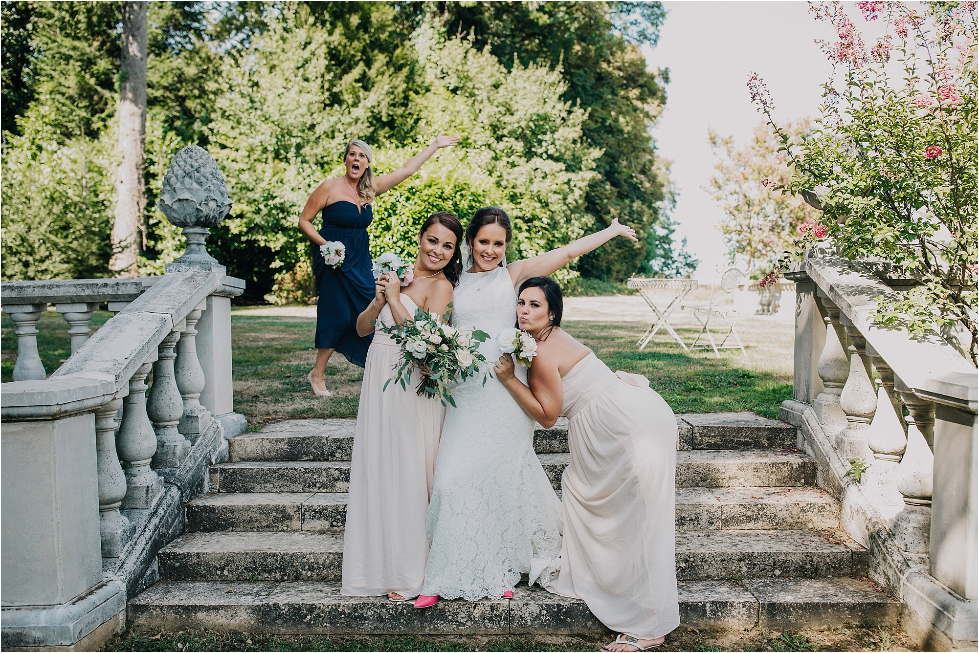 bridesmaids at a chateau la durantie wedding