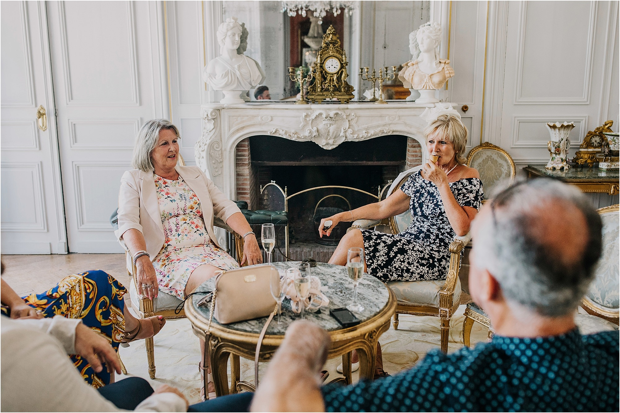 guests in drawing room at chateau la durantie