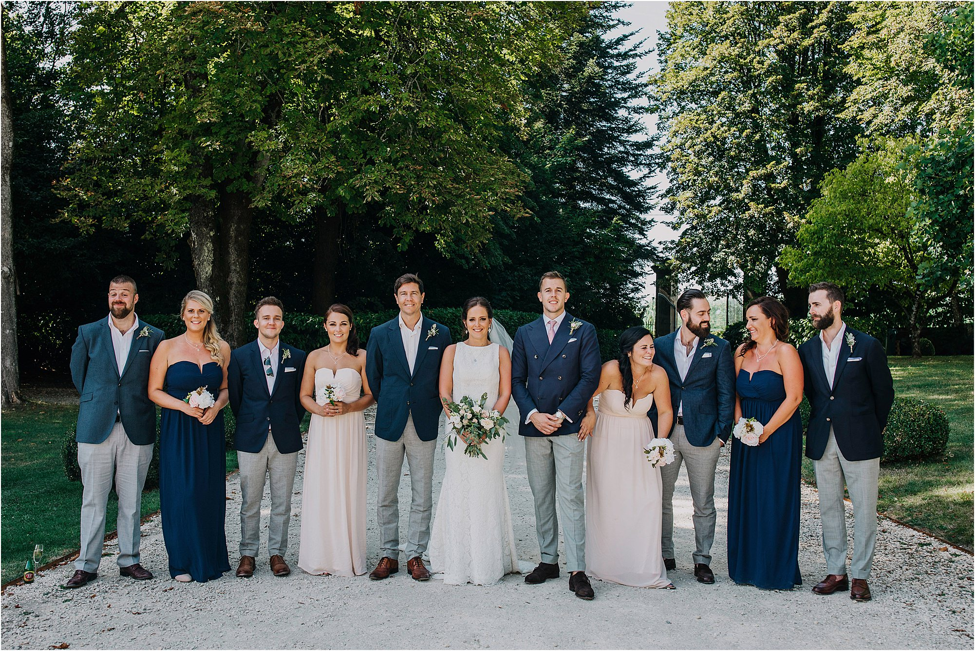 bridal party portraits at chateau la durantie
