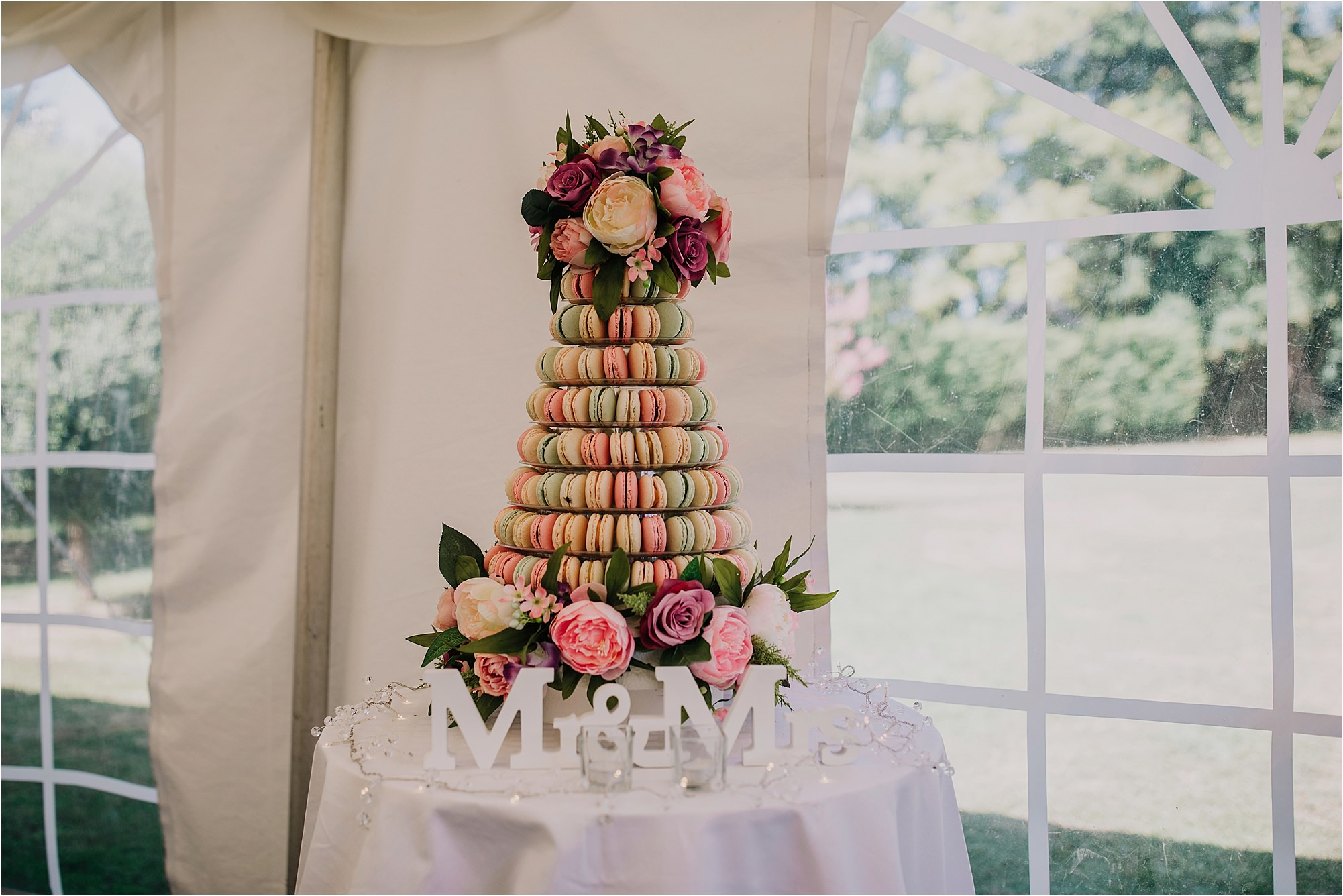 macaroon wedding cake at a chateau la durantie wedding