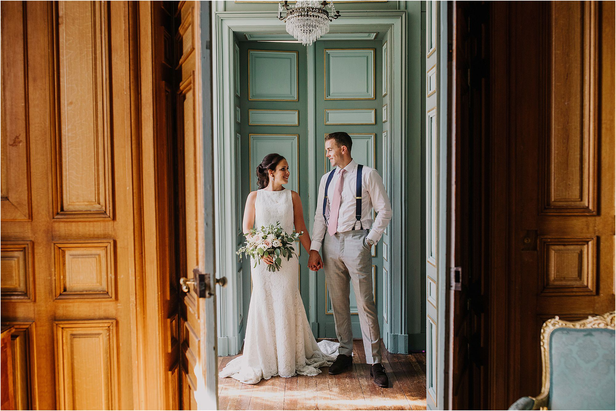 bride and groom portraits inside at chateau la durantie