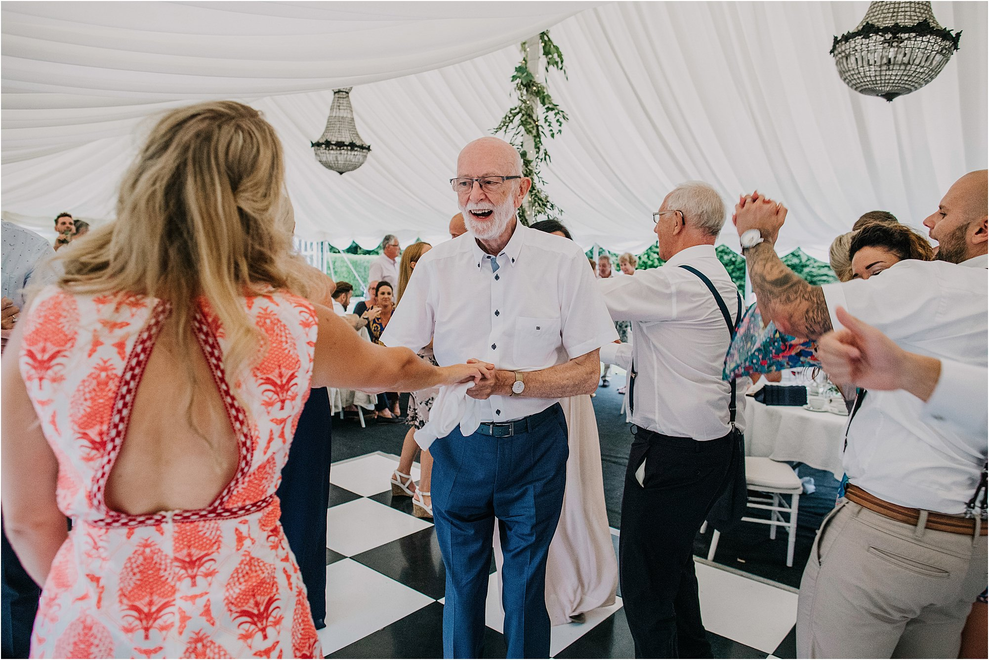 grandad dancing at chateau la durantie wedding