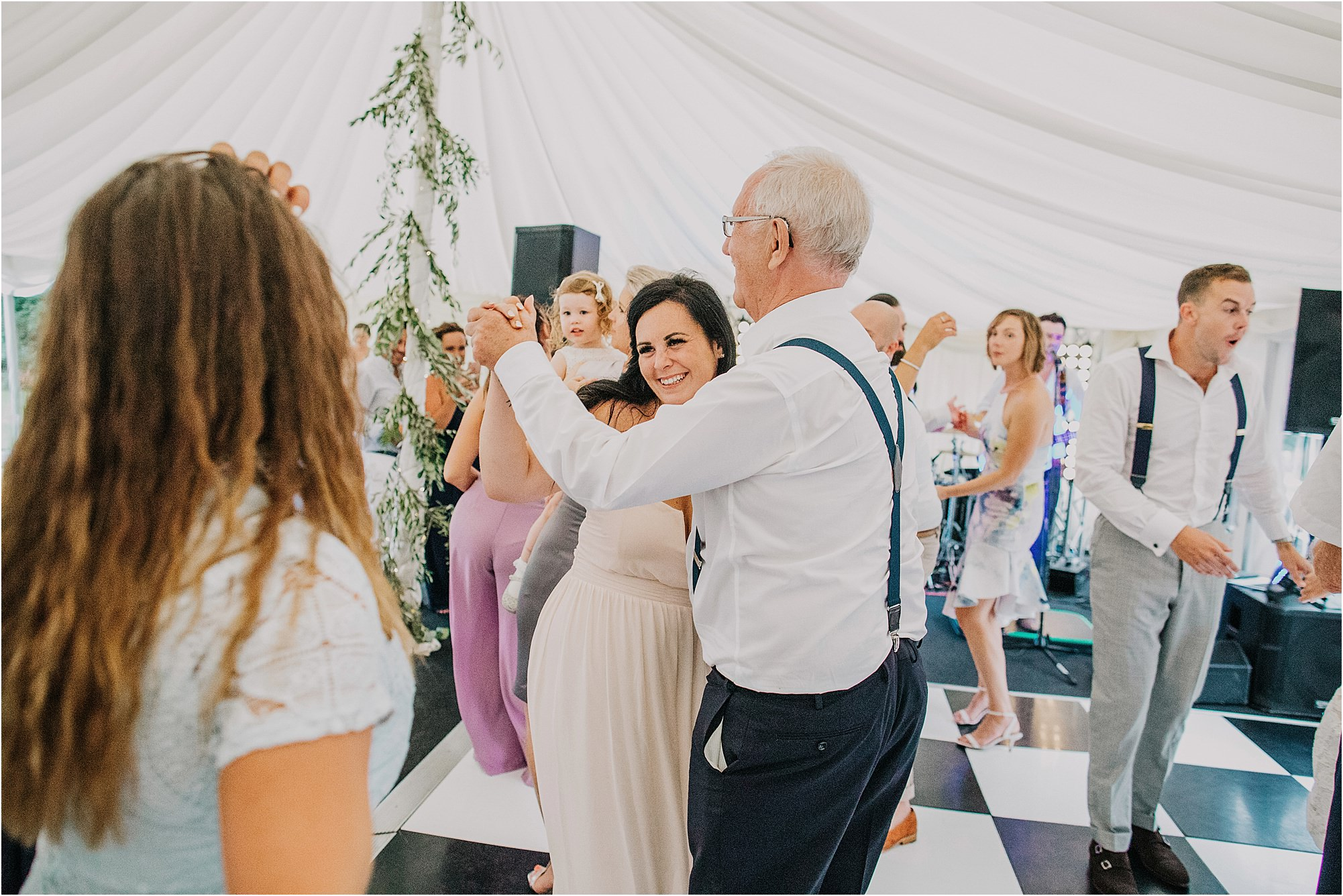 father of bride dancing at chateau la durantie wedding