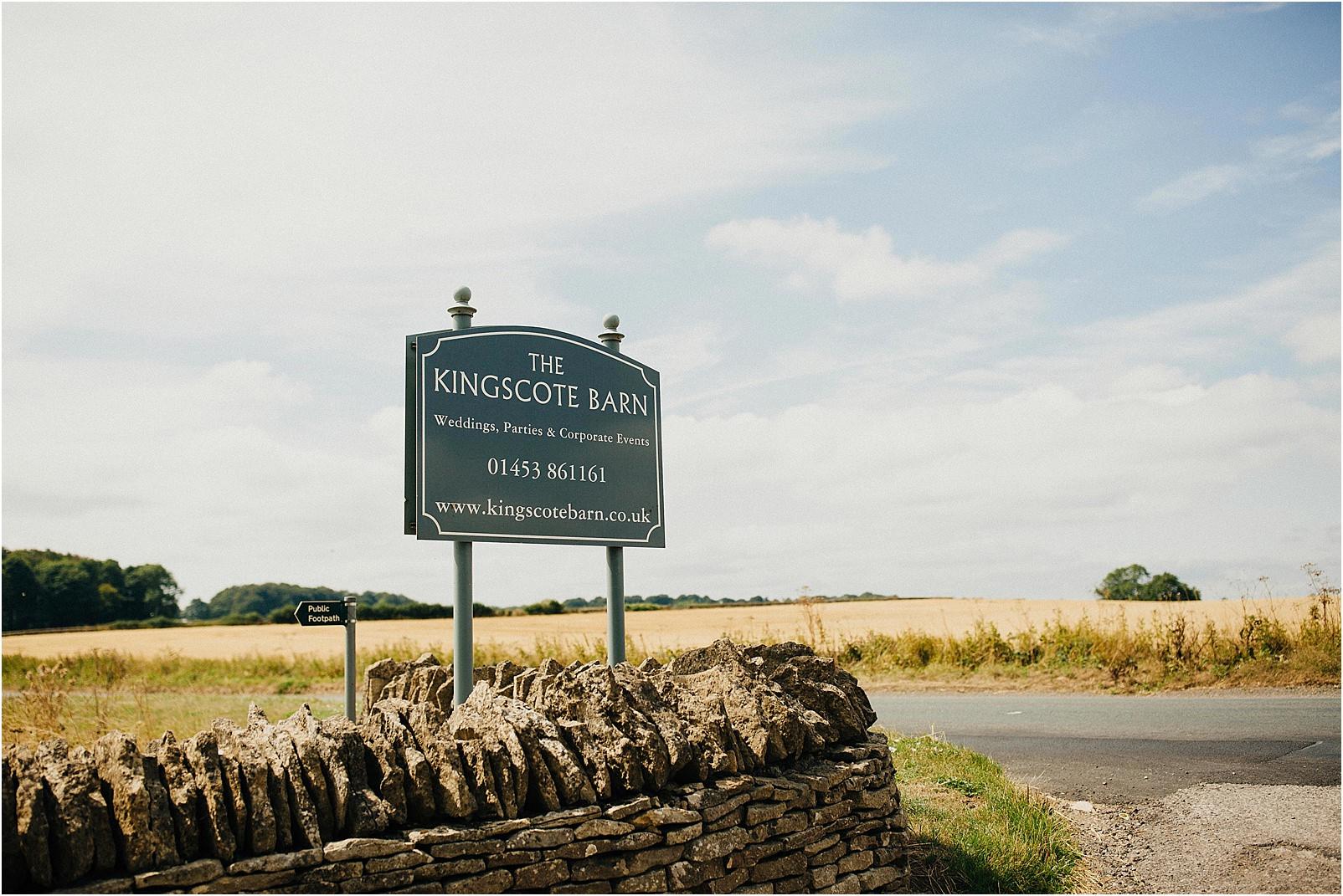 Kingscote Barn sign at the road