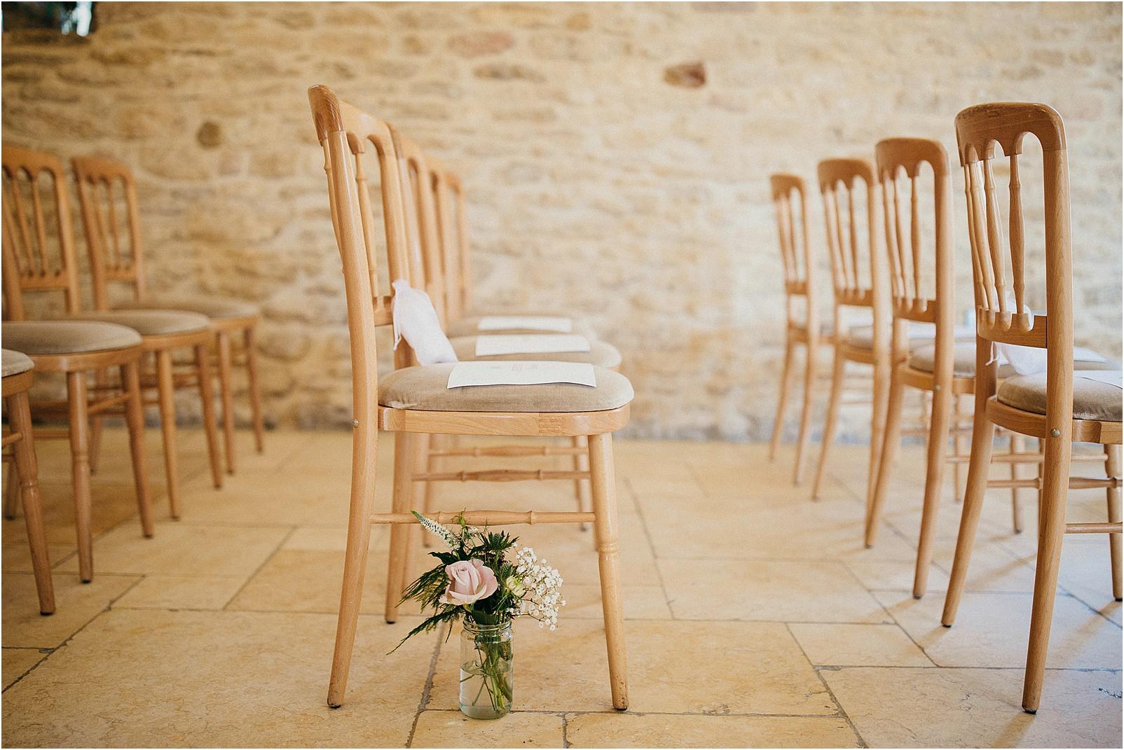 indoor ceremony at Kingscote Barn