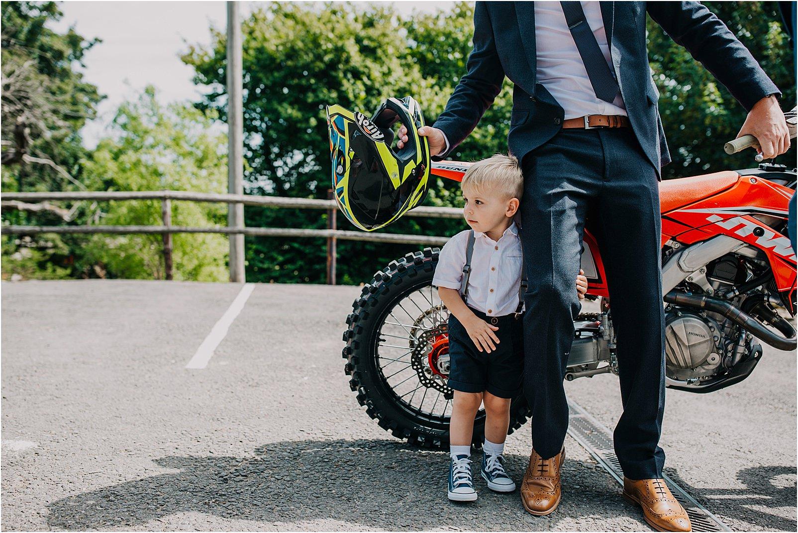 motorcross and young lad at Kingscote barn