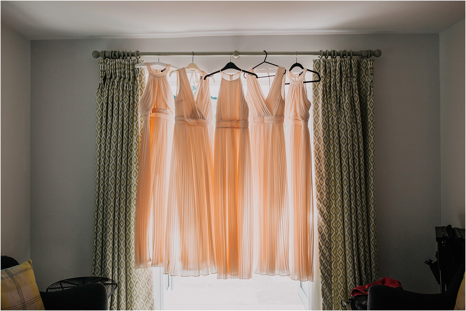 blush coloured bridesmaids dresses at spring cottage