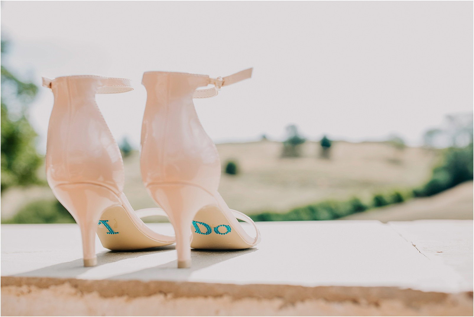blush high back wedding shoes with I do