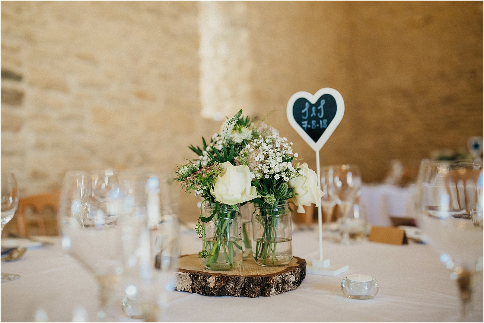Table decoration at Kingscote Barn