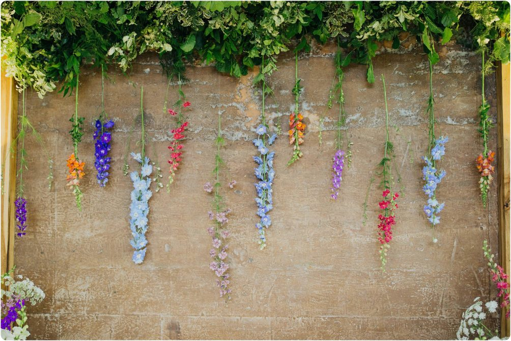 hanging flowers at a Elmore Court wedding