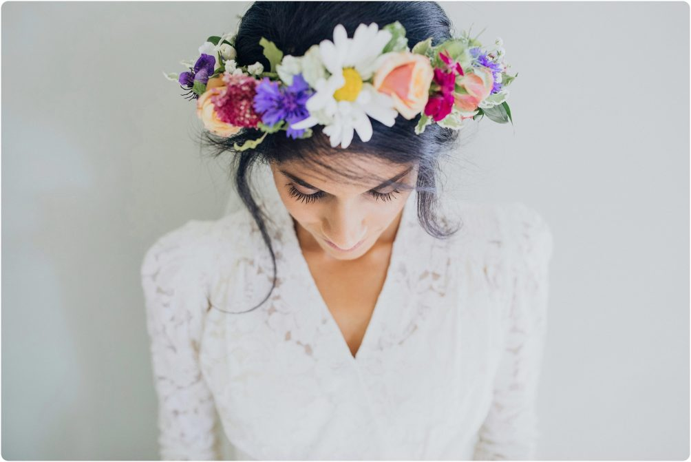 flower crown at Elmore Court wedding