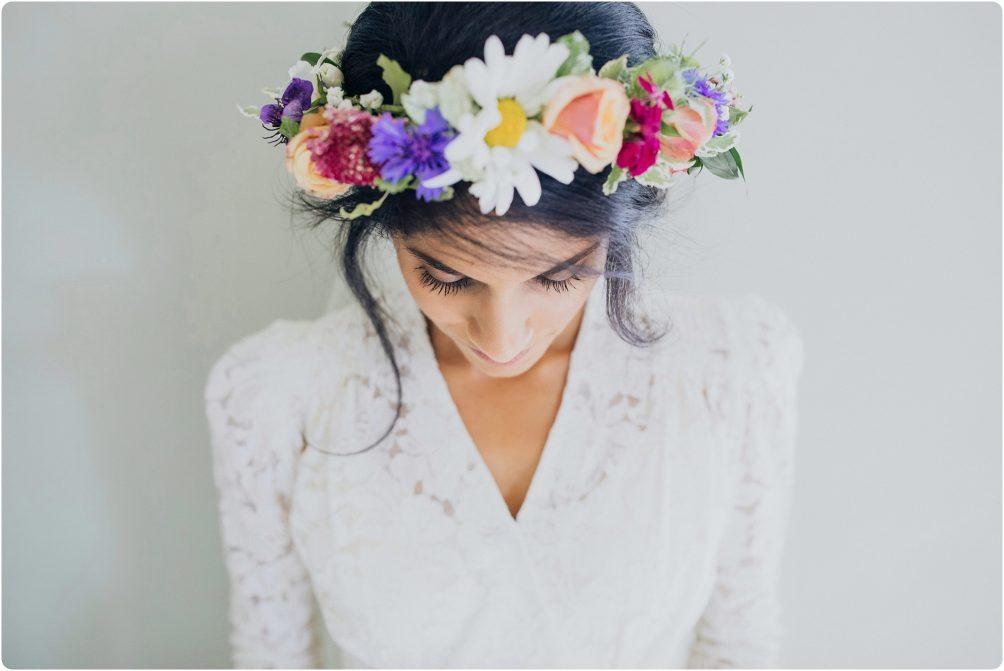 flower crown at Elmore Court wedding