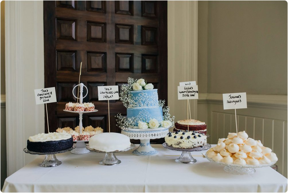 cake table at a Elmore Court wedding