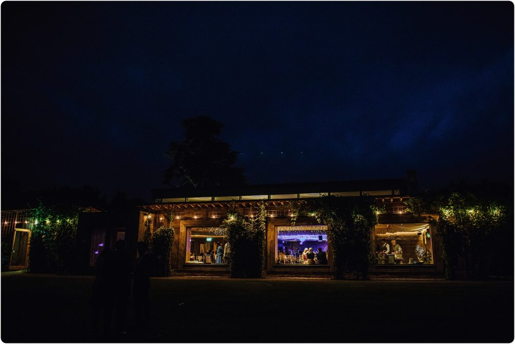 outside night shot at a Elmore Court wedding