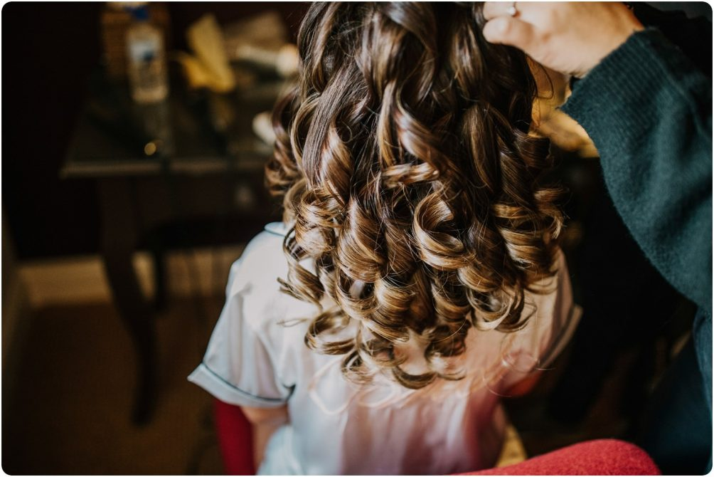 bride after having curlers taken out by katz hairstylist